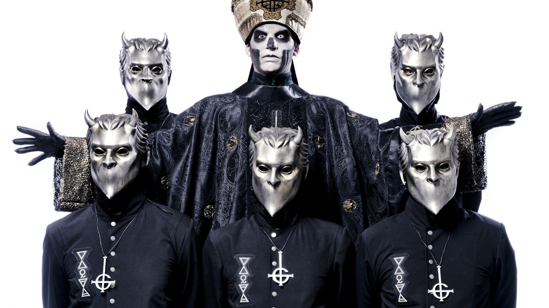 Res: 1920x1080, ... Download wallpaper Ghost Papa Emeritus III doom metal band heavy