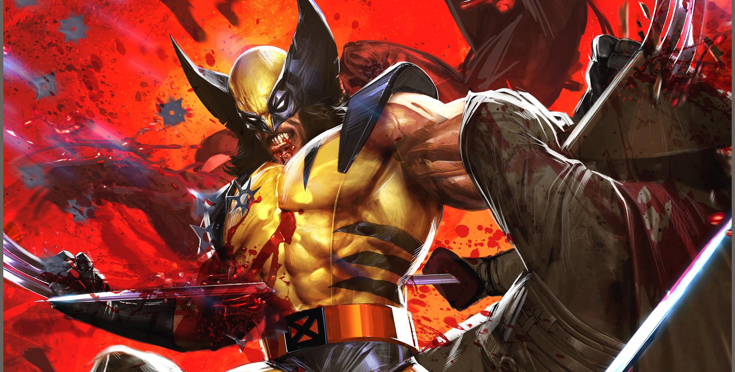 Res: 2400x1216, XMen Wolverine Fight Artwork Marvel Comics Marvel Dave Wilkins Comics  Ninjas Blood Wallpapers HD / Desktop and Mobile Backgrounds
