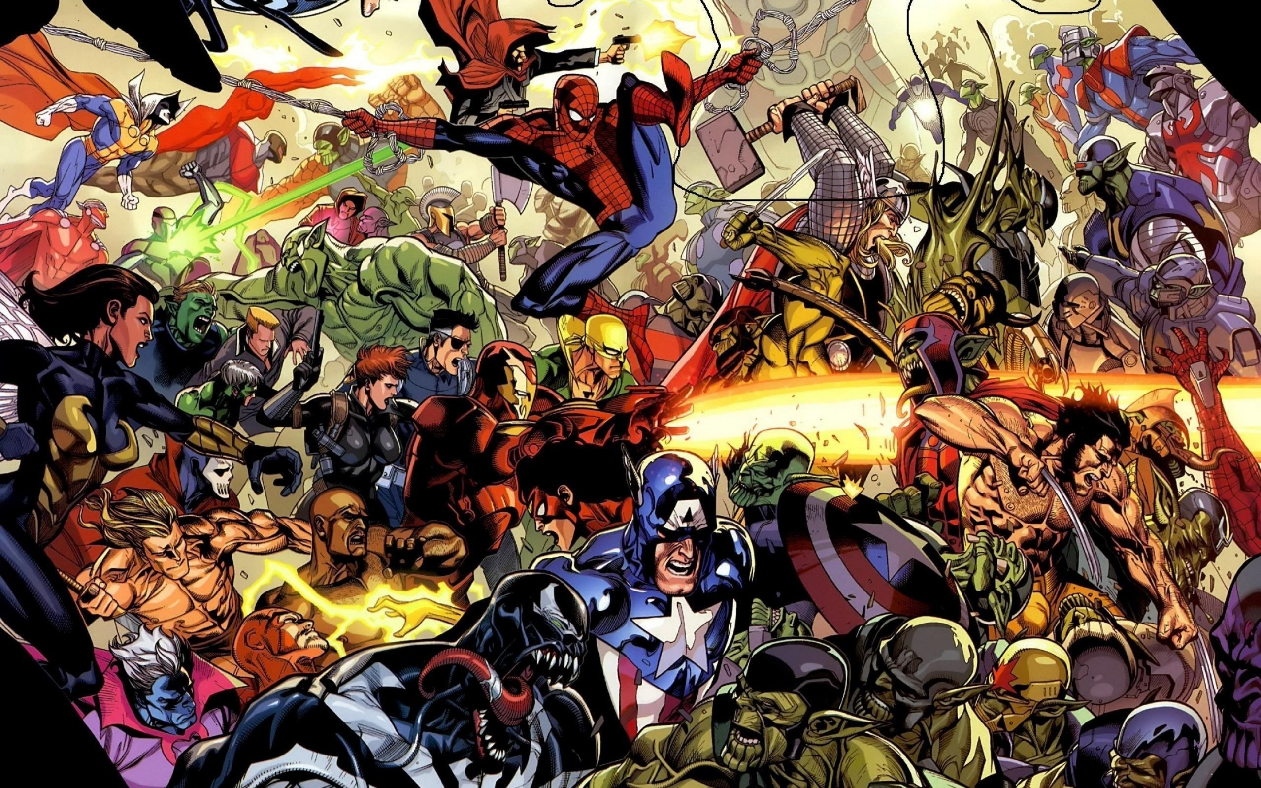 Res: 2560x1600, marvel comics superhero spider man venom iron man captain america thor  wolverine iron fist wallpaper and background