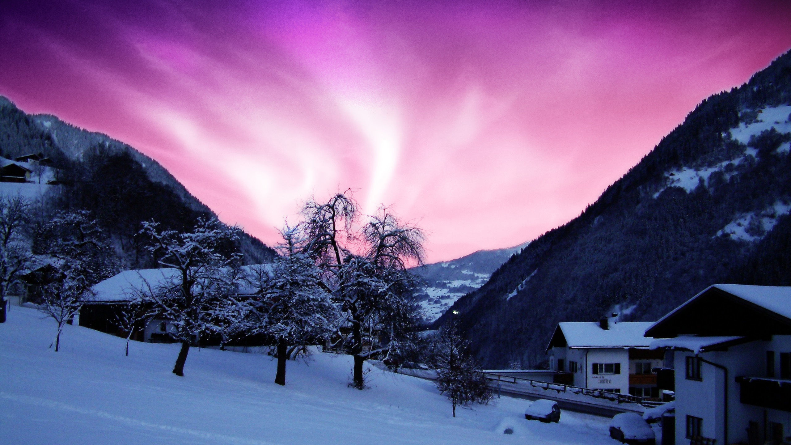Res: 2560x1440, HD Beauty Of The Northern Lights Purple Sky Cold Winter House Hd Wallpapers  Of Northern Lights