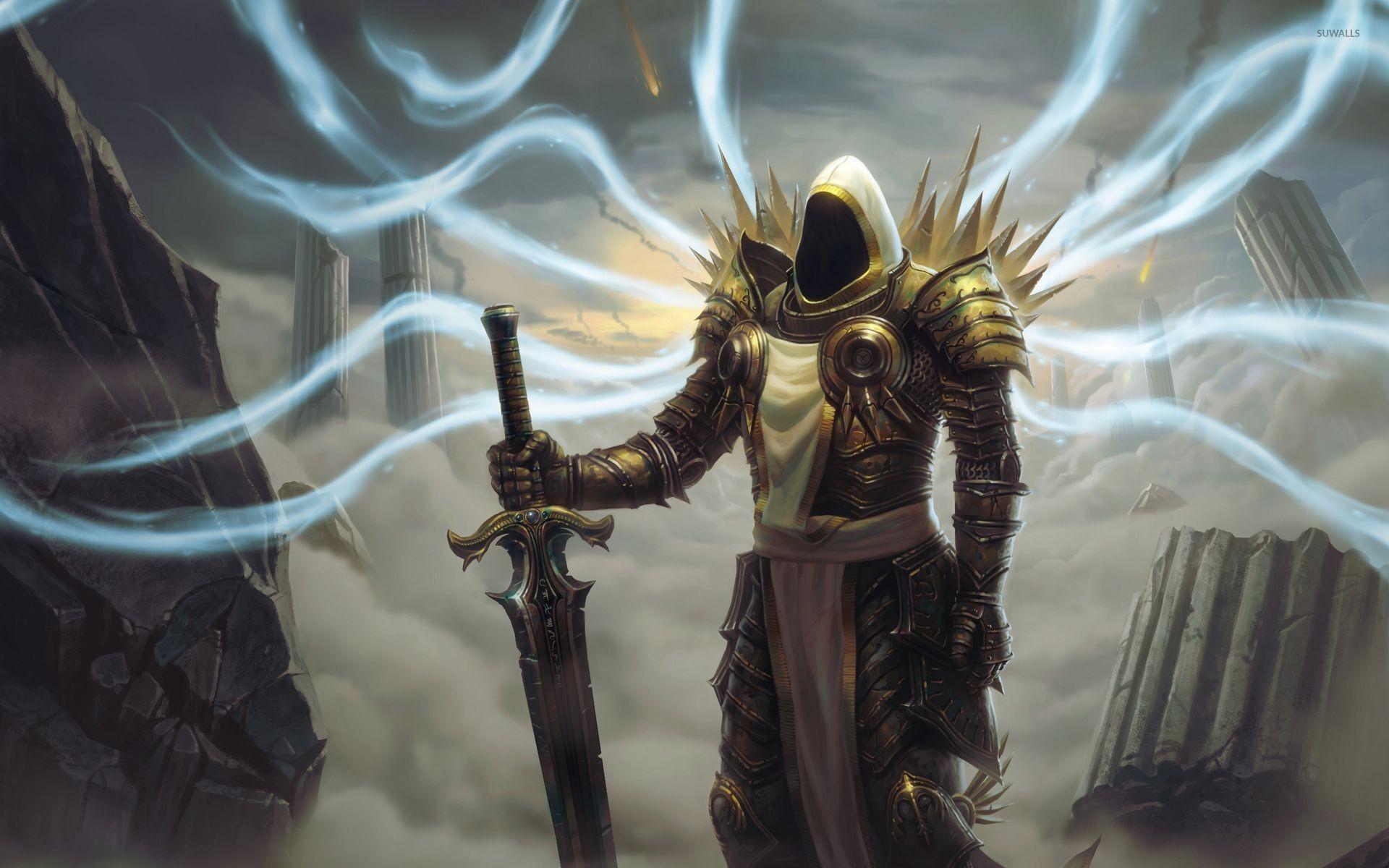 Res: 1920x1200, Tyrael with a golden sword - Diablo wallpaper