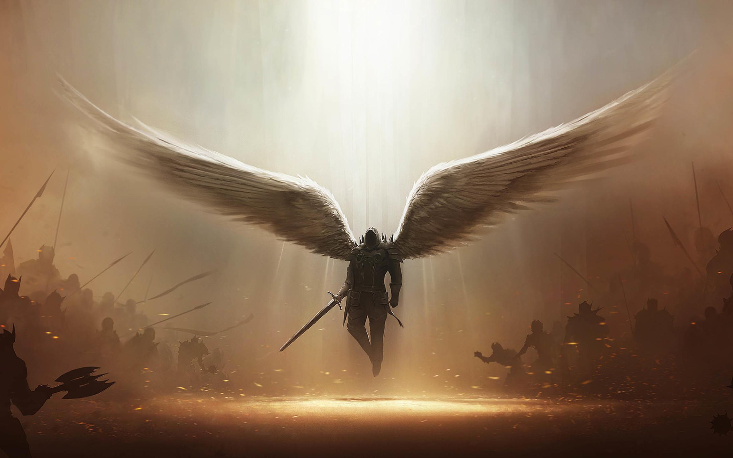 Res: 2560x1600, Computerspiele - Diablo III Engel Tyrael (Diablo III) Düster Wings Dämon  Schwert Weapon Engelskrieger