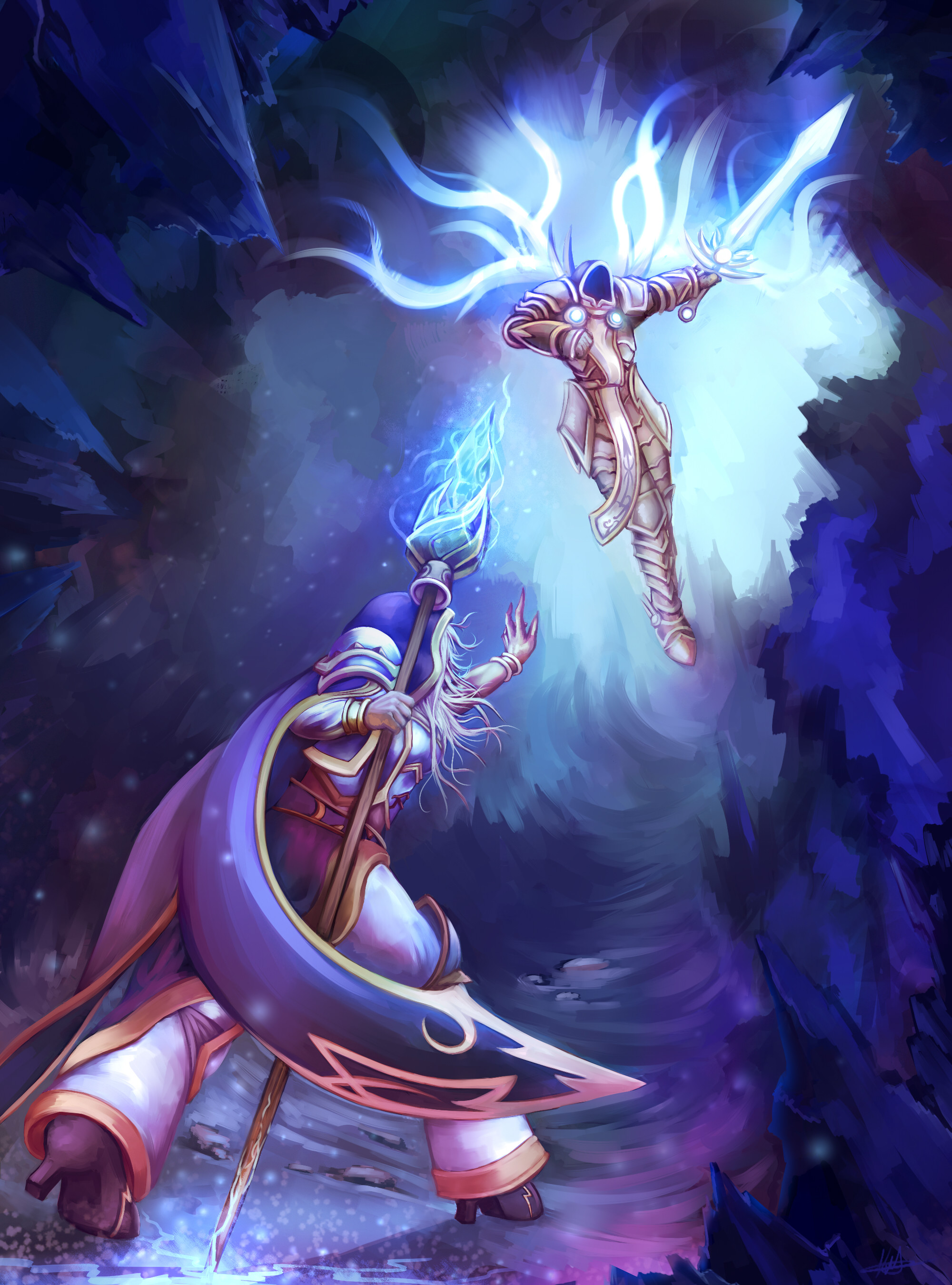 Res: 2000x2700, ... Jaina Vs. Tyrael Heroes of the Storm Contest Entry by River-Painted-Gold