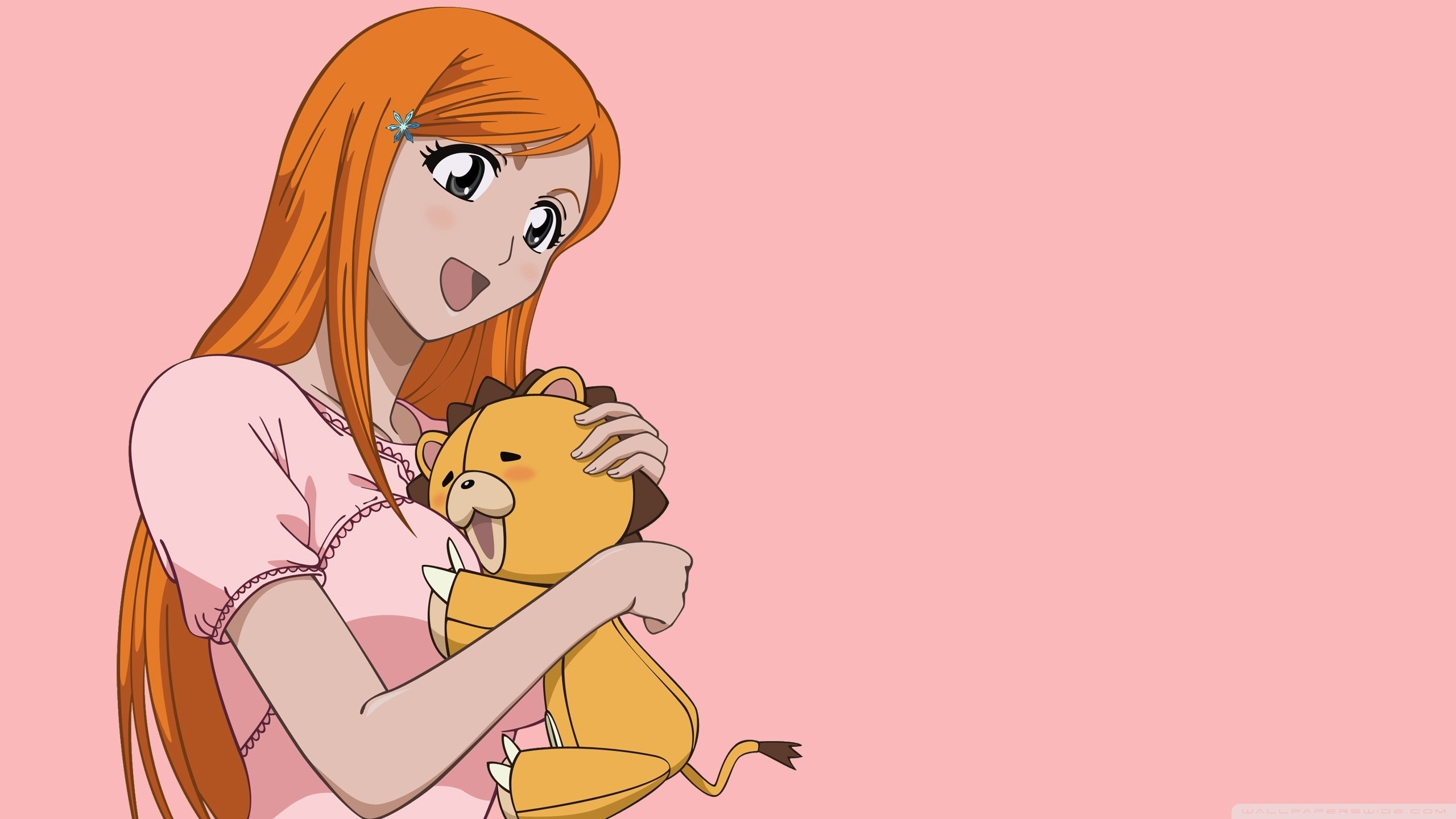 Res: 2560x1440, bleach kon inoue orihime stuffed animals orange hair simple background pink  background  Art HD Wallpaper