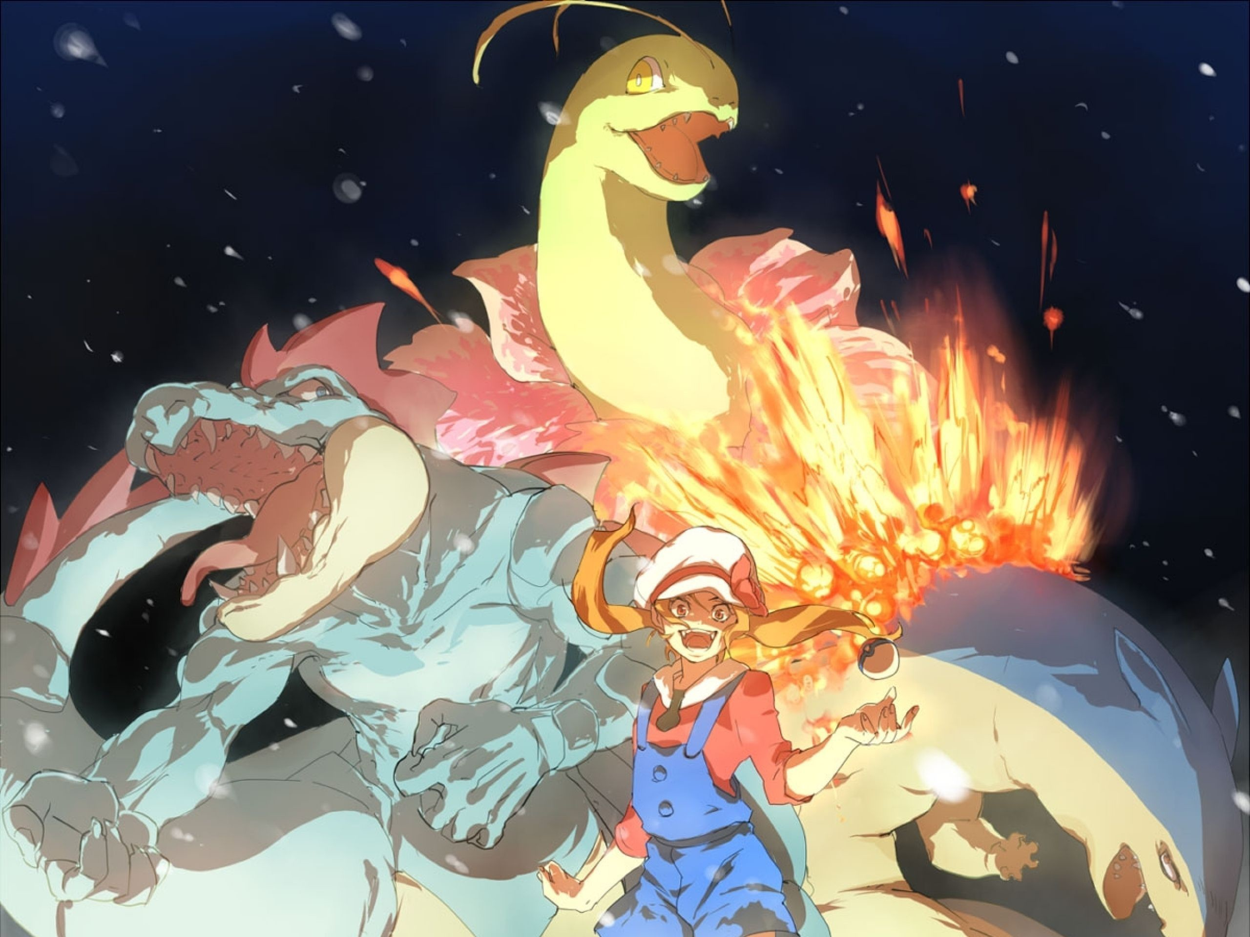 Res: 2560x1920, Lyra with Feraligatr, Meganium, and Typhlosion