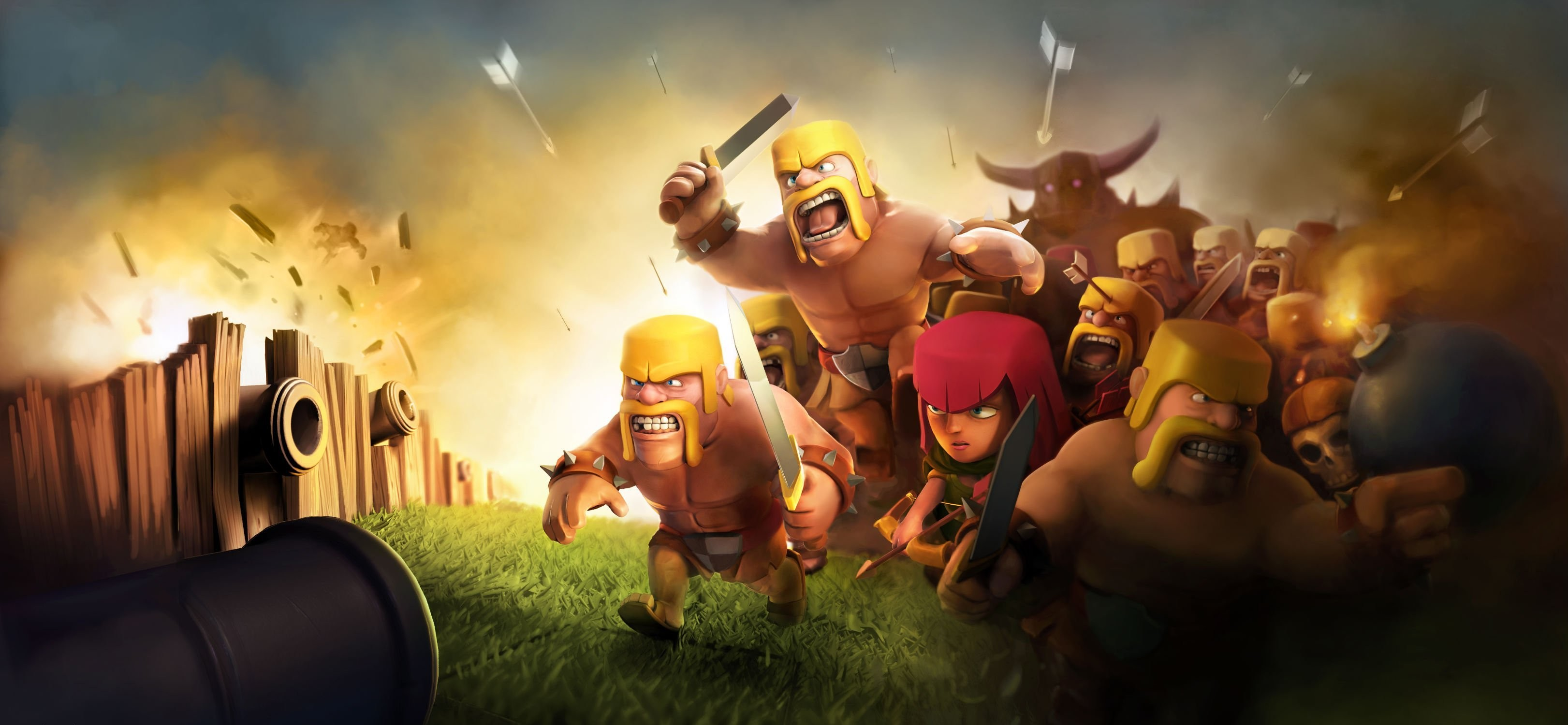 Res: 3243x1501, Clash Of Clans HD (1366x768 Resolution)