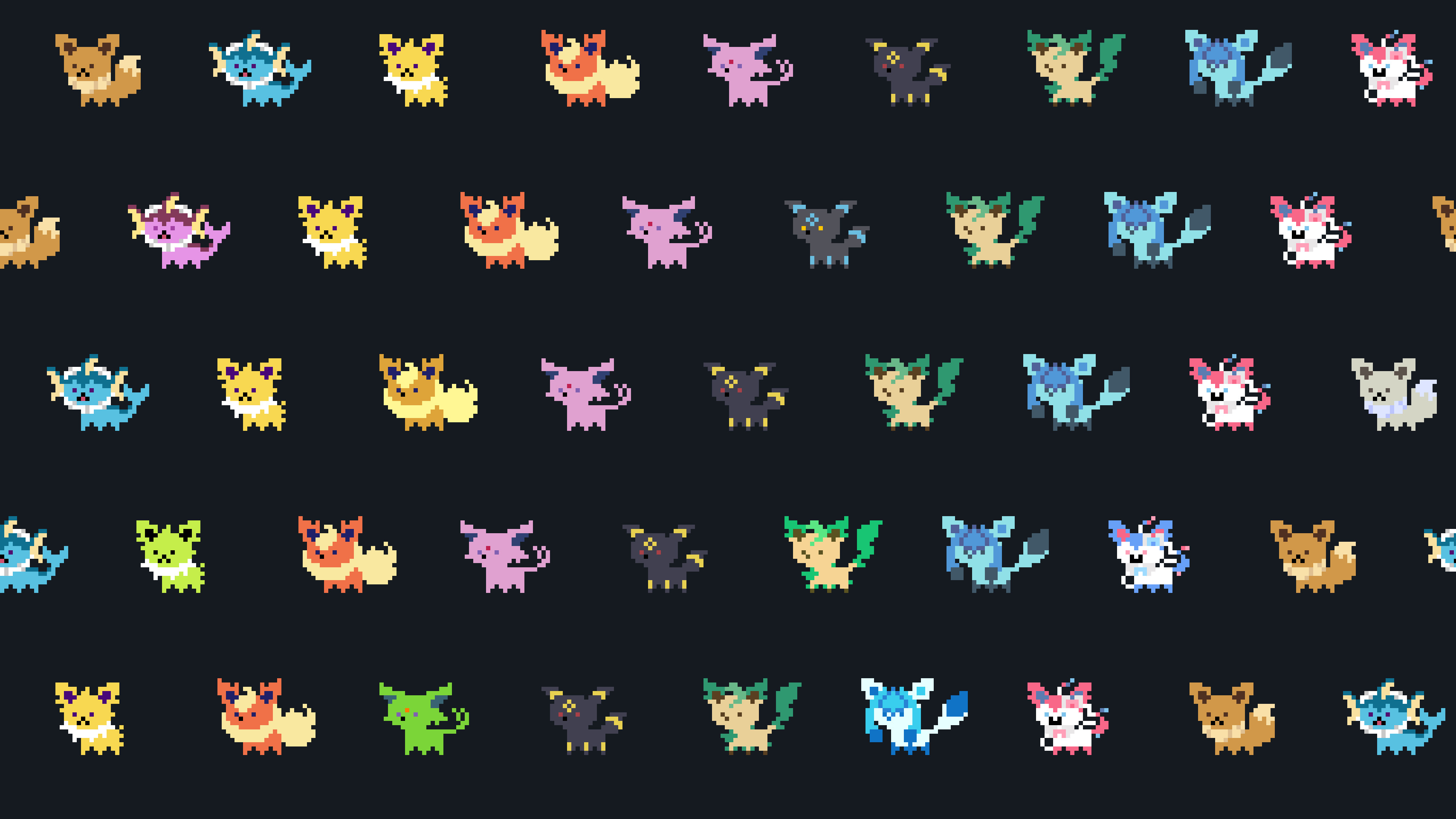 Res: 3415x1920, Eeveelutions Wallpapers  px, Top on M.F. Graphics