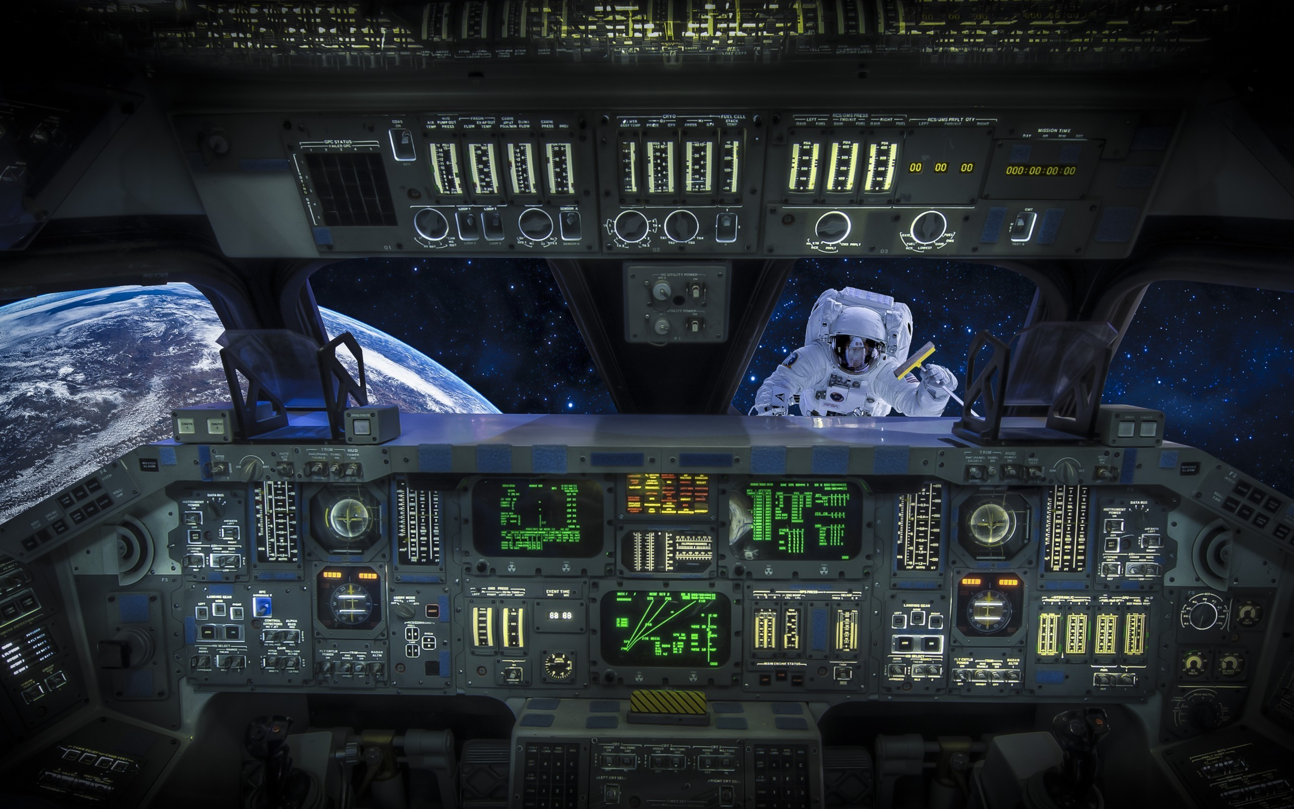 Res: 2560x1600, Spaceship cockpit wallpaper