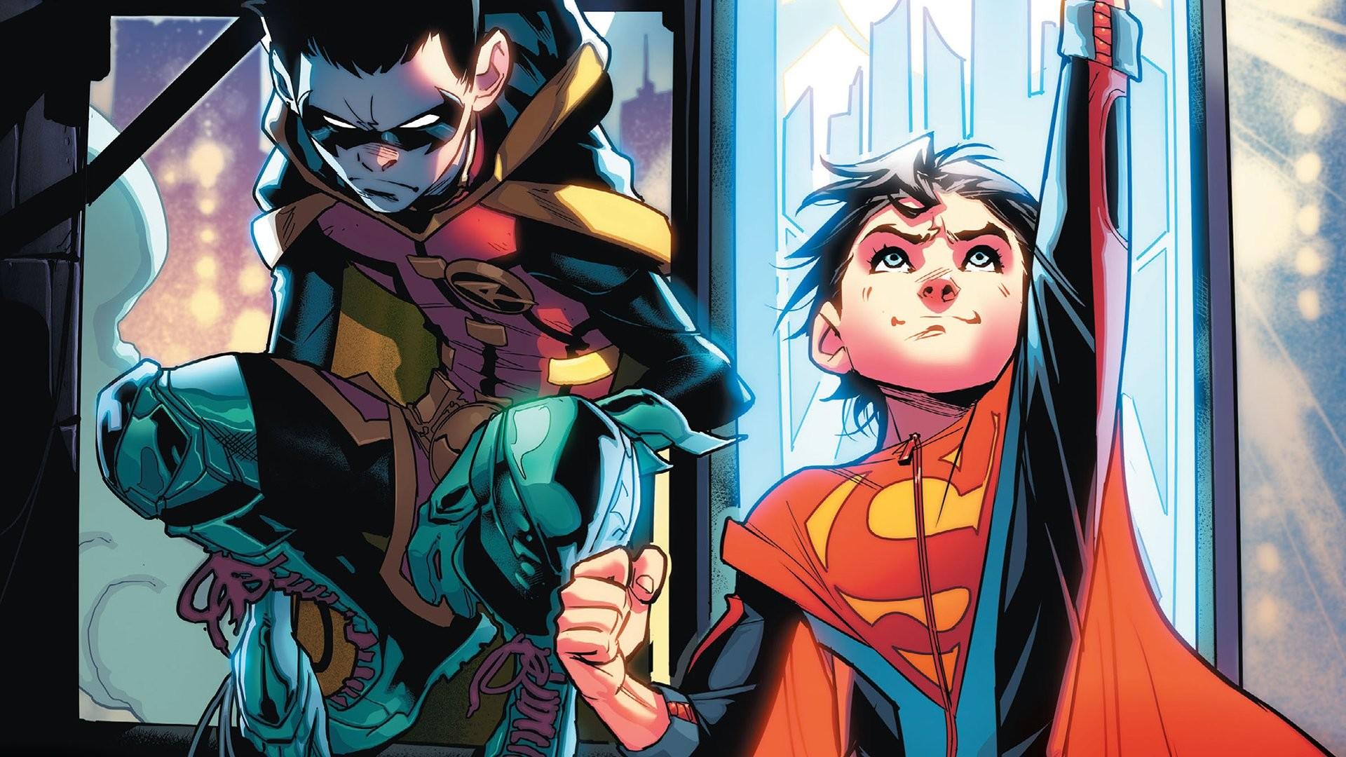 Res: 1920x1080, Comics - Super-Sons Superboy Robin (DC Comics) Damian Wayne Superman Batman  DC