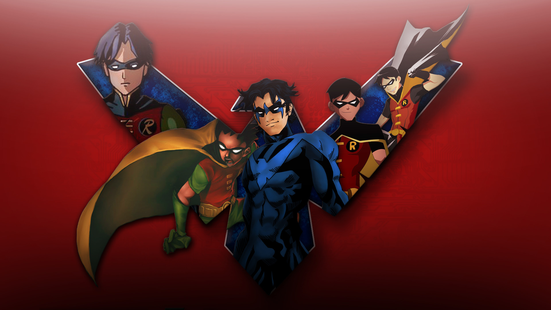Res: 1920x1080, Nightwing Young Justice, city, red, arkham, robin,  HD .