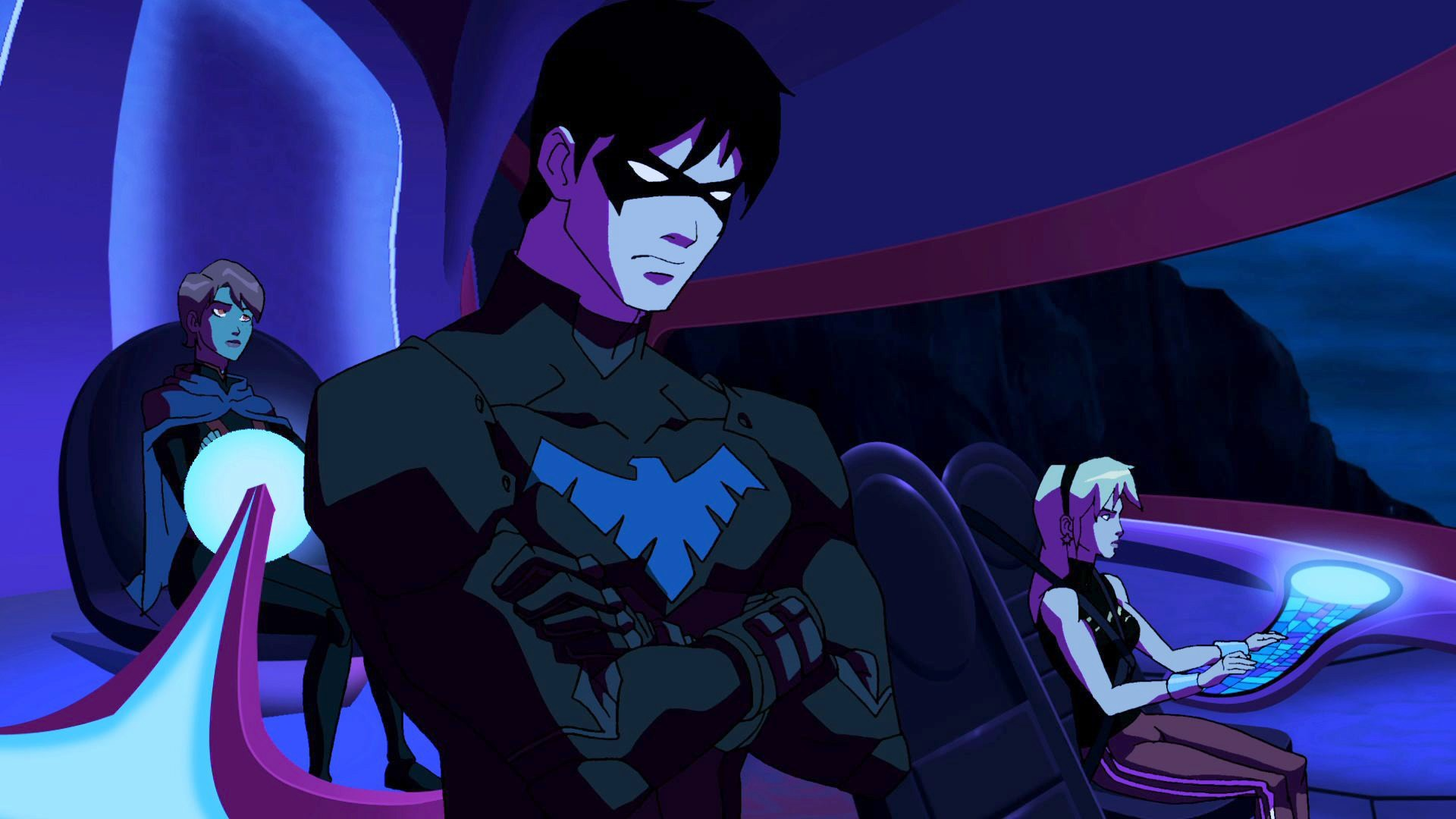 Res: 1920x1080, Robin, a young boy at the time matured quickly and is in charge of the  team. He is now known as Nightwing. Superboy and Ms. Martian started a  relationship ...
