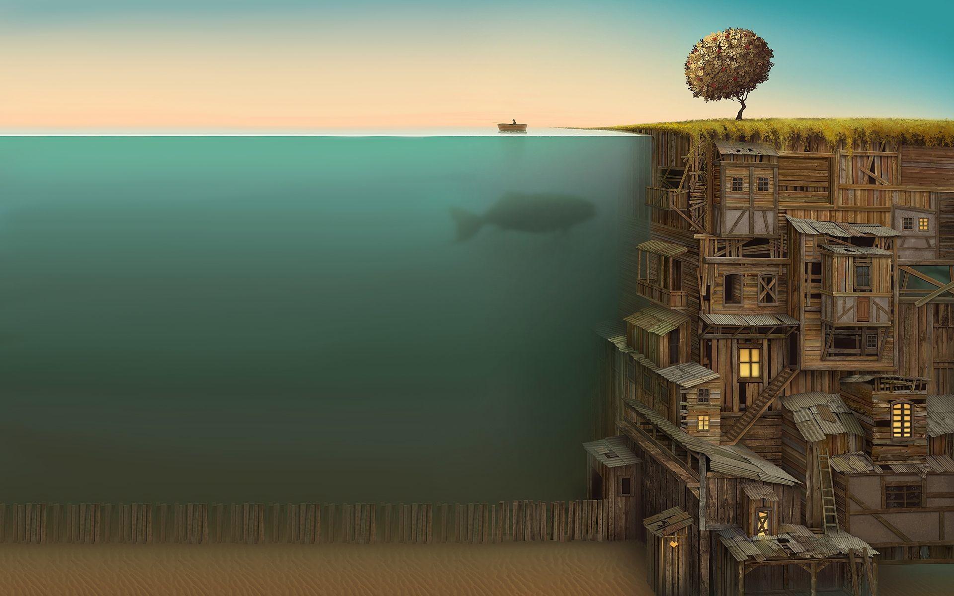 Res: 1920x1200, trees wood fish surrealism artwork underwater - Wallpaper (#1114443) /  Wallbase.cc