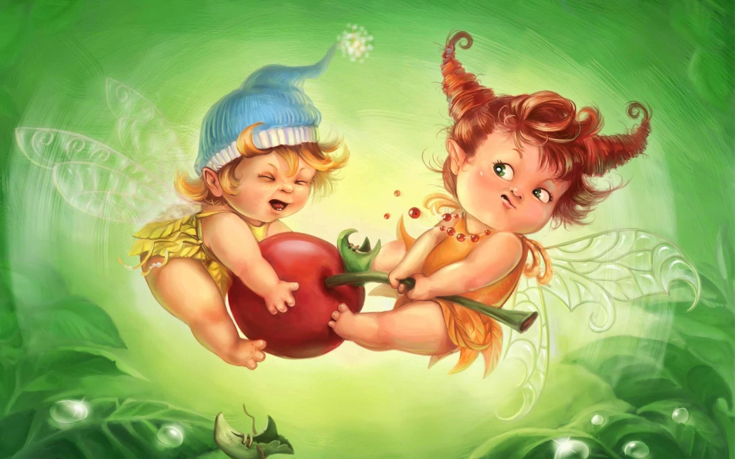 Res: 2560x1600, Fairy children fighting over cherries wallpaper HD.