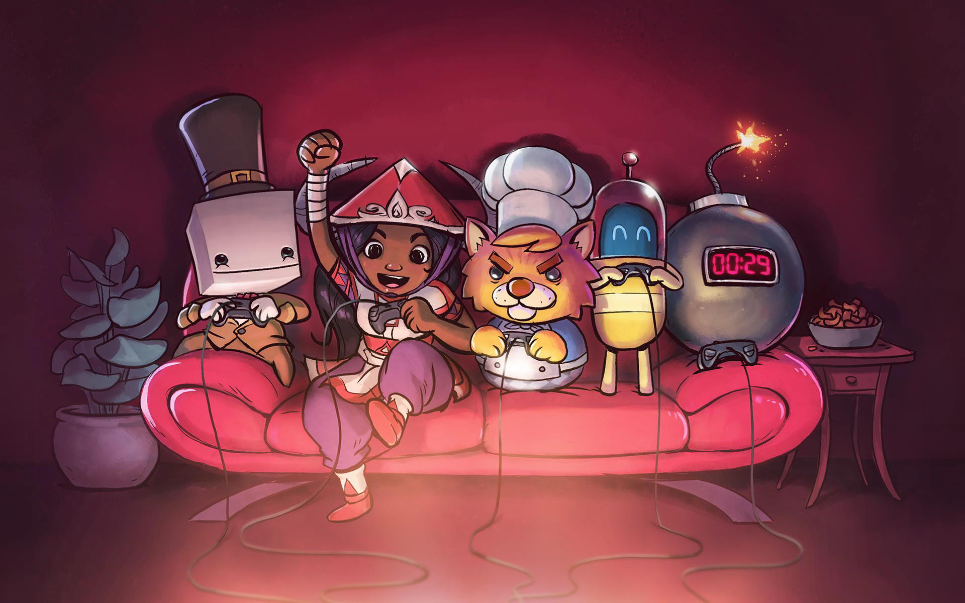 Res: 1920x1200, Promo artwork for the Cozy Couch Co-op Bundle on Steam, featuring BattleBlock  Theater, Moon Hunters, Overcooked, Lovers in a Dangerous Spacetime, ...