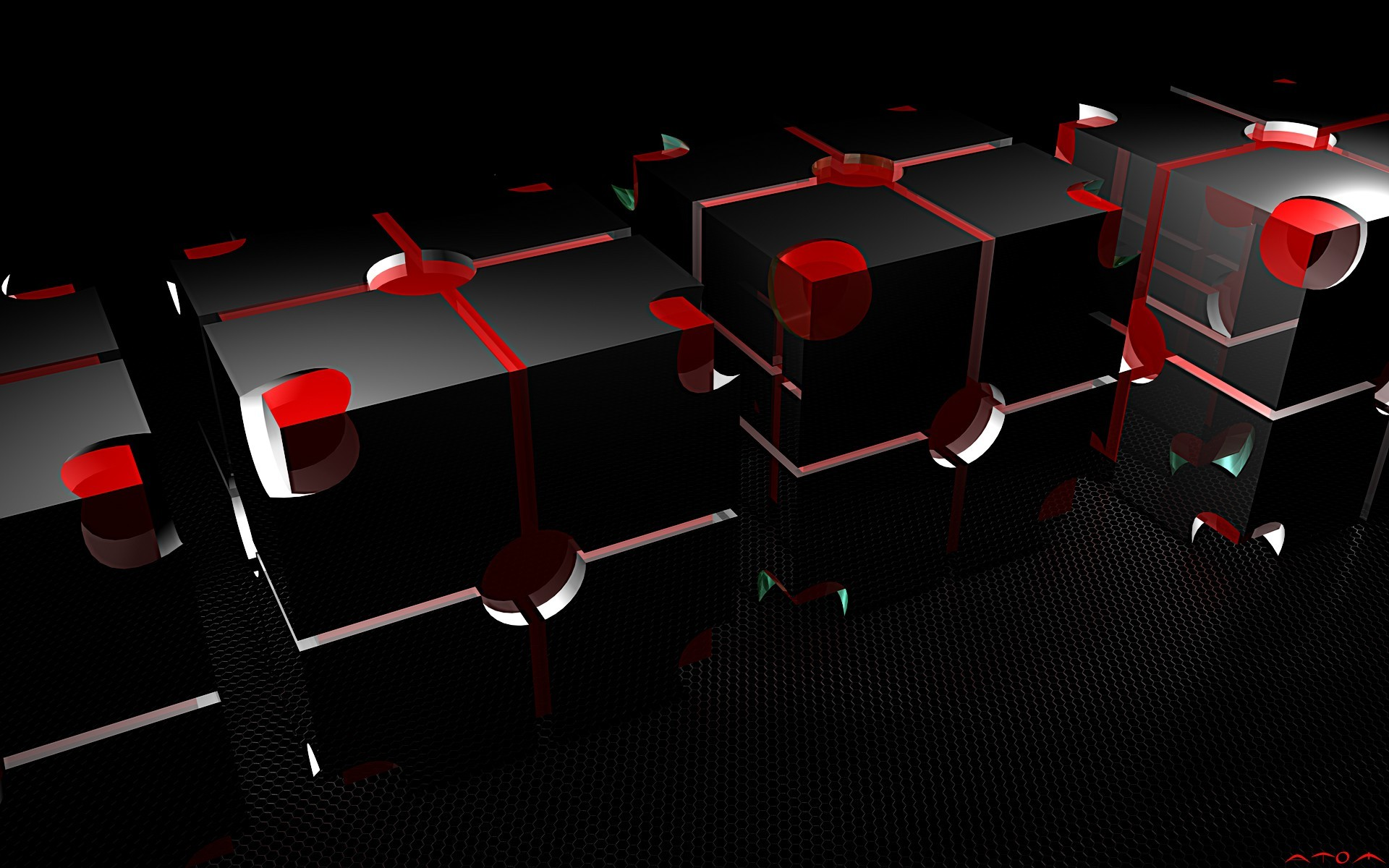 Res: 1920x1200, HD Wallpaper Abstract Black Red Box Glossy Hd