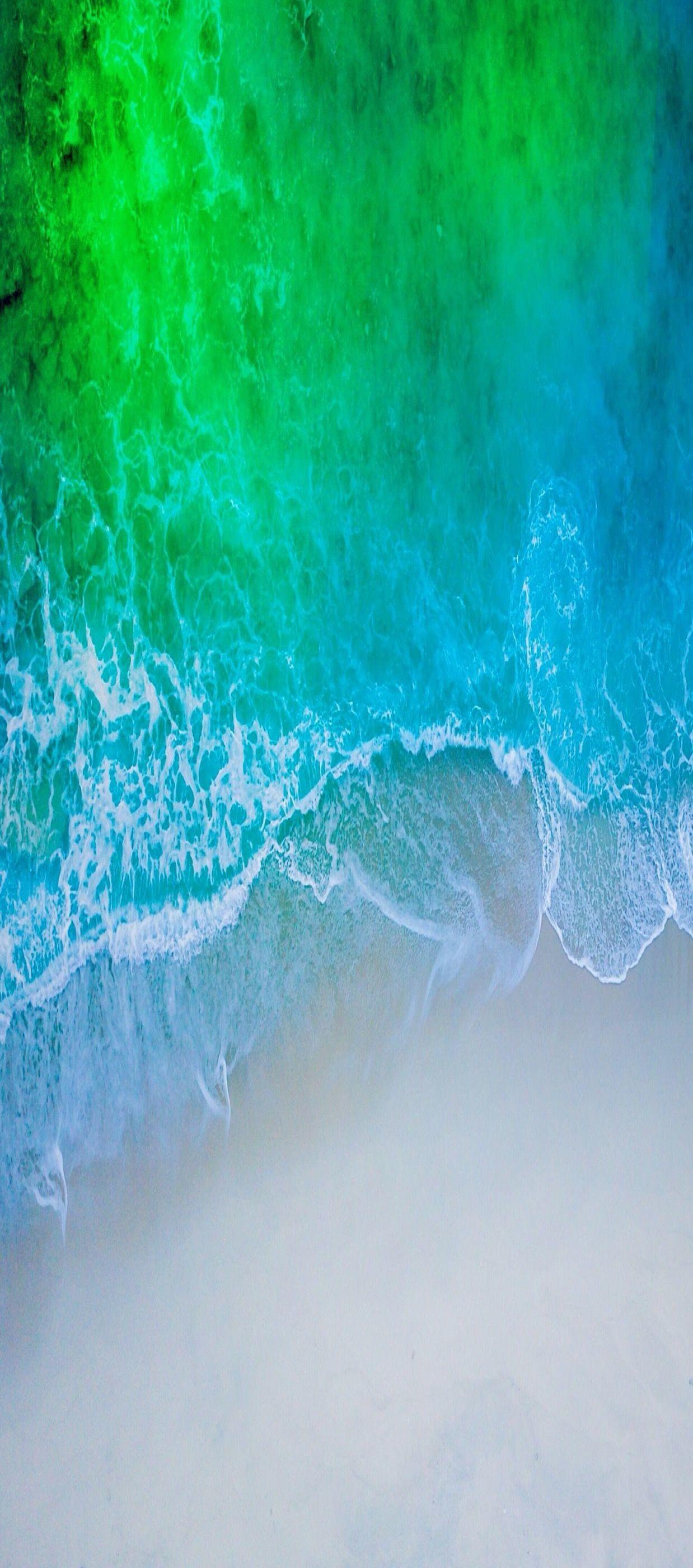 Res: 1238x2800, iOS 11, iPhone X, Aqua, blue, Water, beach, wave,