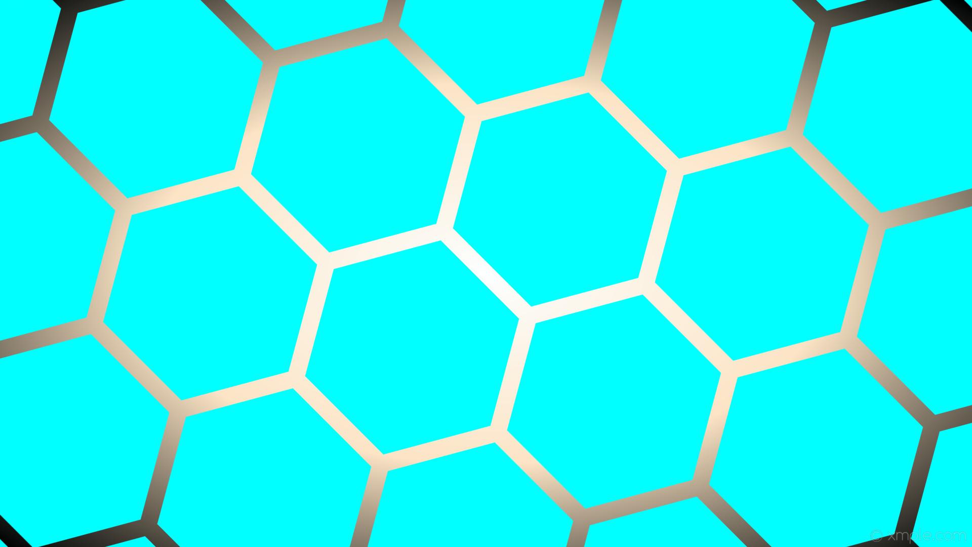 Res: 1920x1080, wallpaper glow brown blue hexagon gradient white black aqua cyan bisque  #00ffff #ffffff #