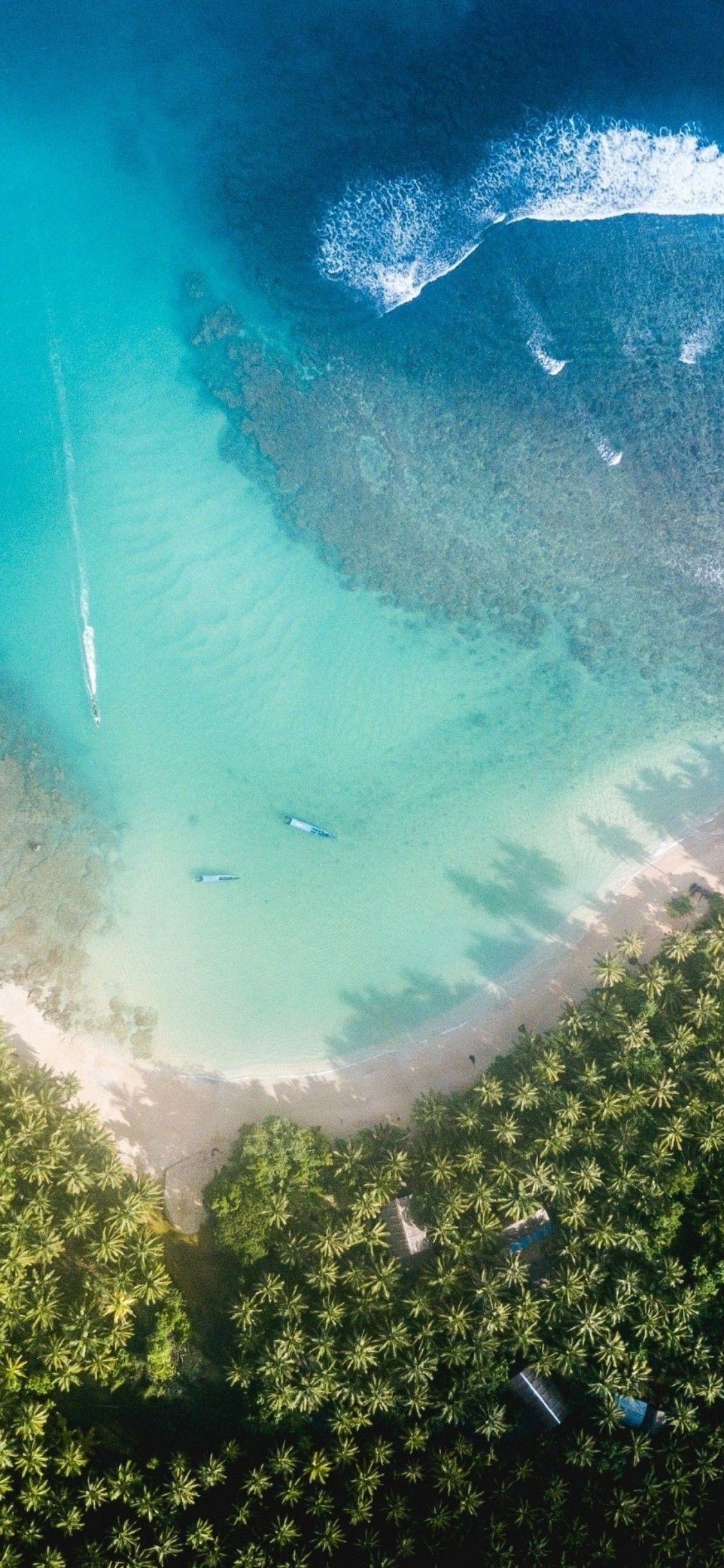 Res: 1125x2436, iOS 11, iPhone X, Aqua, blue, Water, beach, wave,