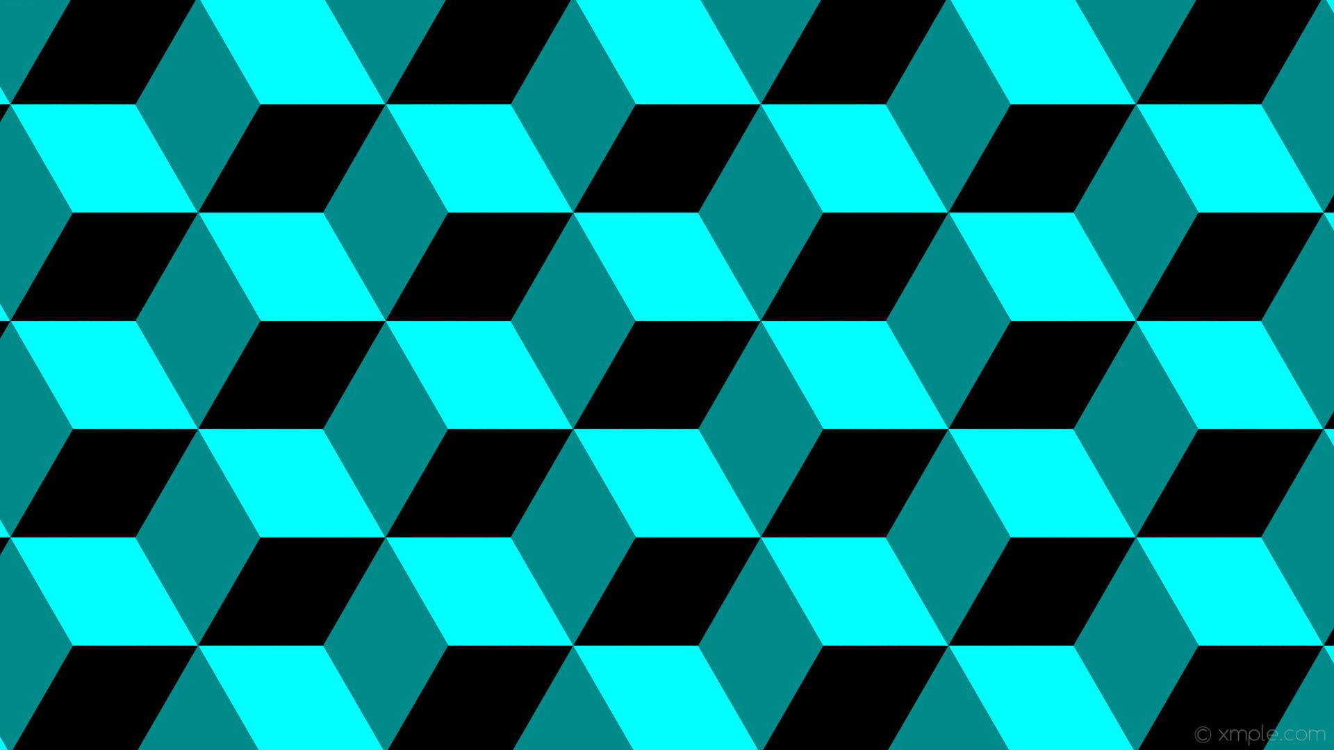 Res: 1920x1080, wallpaper green blue 3d cubes black aqua cyan dark cyan #000000 #00ffff  #008b8b
