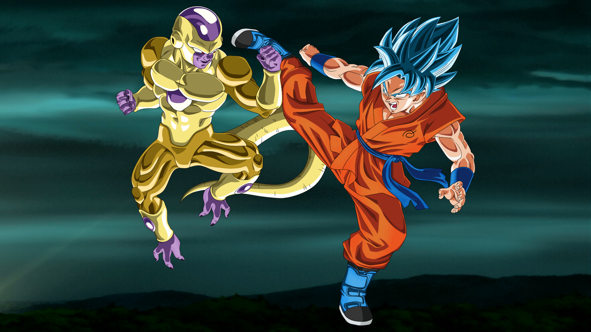 Res: 1920x1080, Gold Frieza vs SSGSS Goku no aura  by EymSmiley