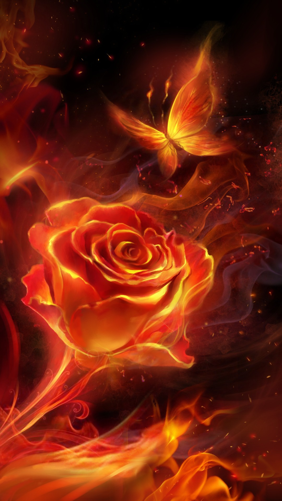 Res: 1080x1920, Red Bandana Wallpaper Awesome Fiery Rose and butterfly Flame Live Wallpaper