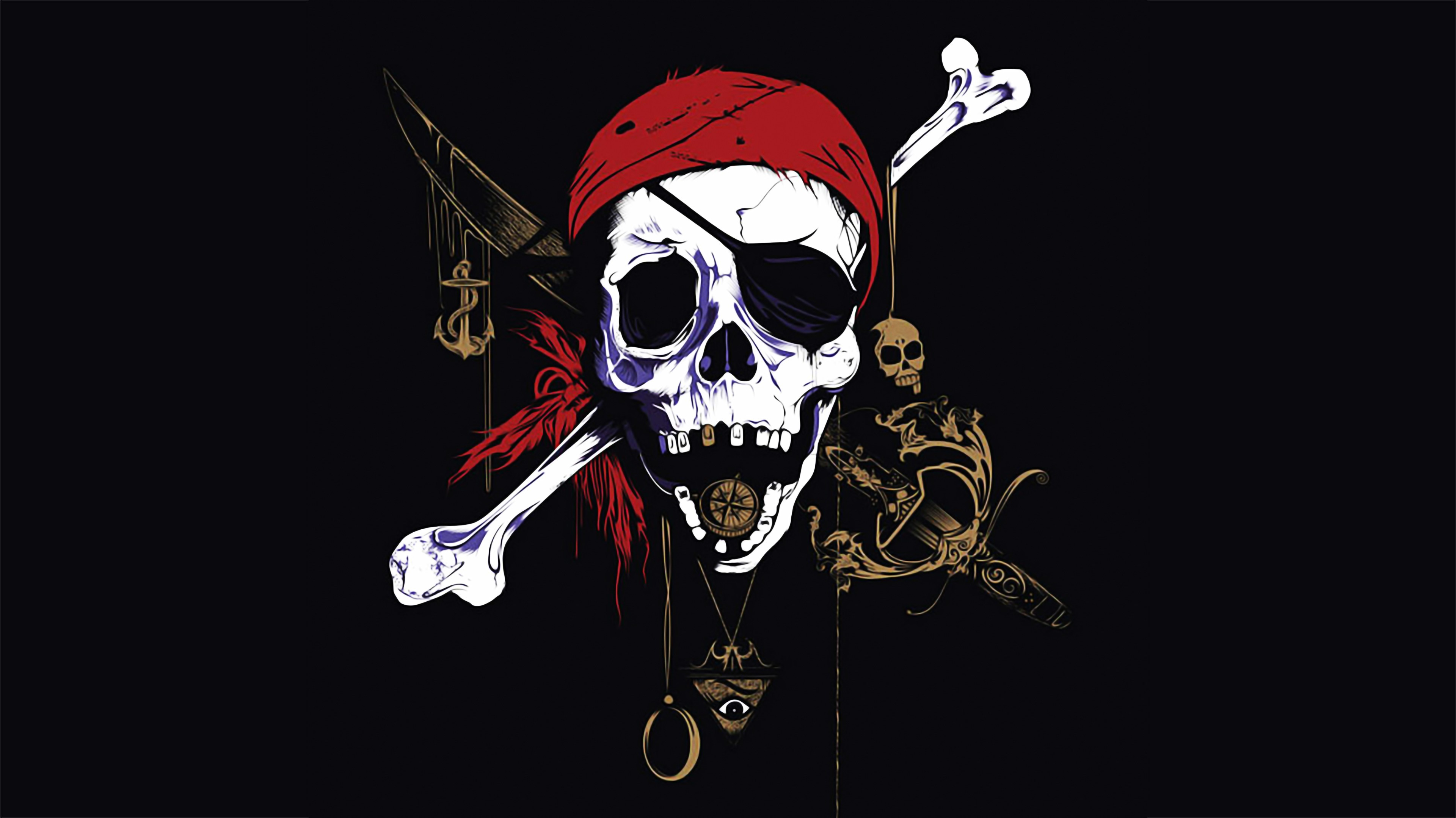Res: 3840x2159, Pirate Skull Red Bandana Wallpaper
