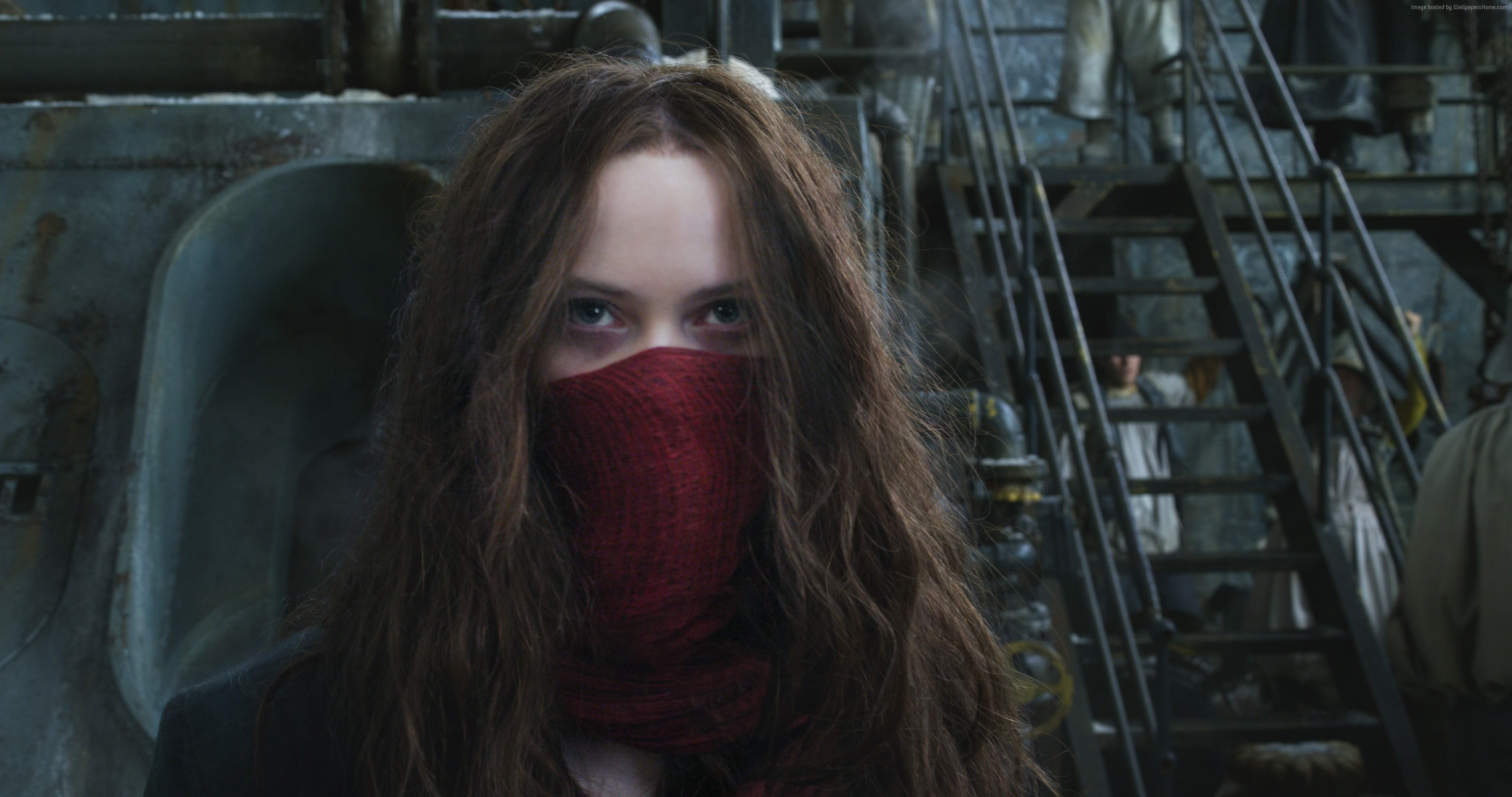 Res: 3600x1898, women's red bandana, Mortal Engines, Hera Hilmar, 4k HD wallpaper