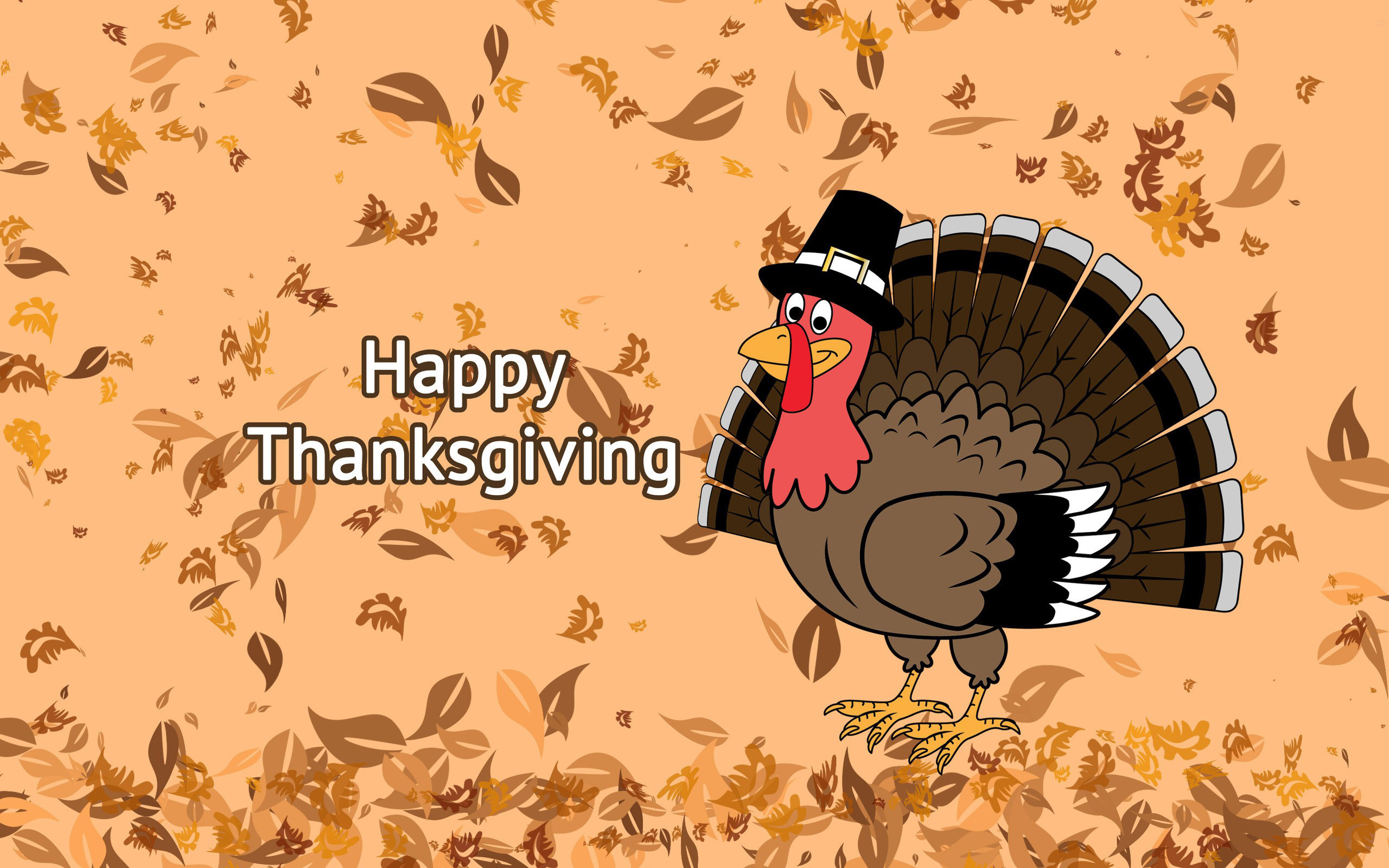 Res: 2560x1600, Happy Thanksgiving Day Falling Leaves On Turkey Background Hd Wallpaper Card