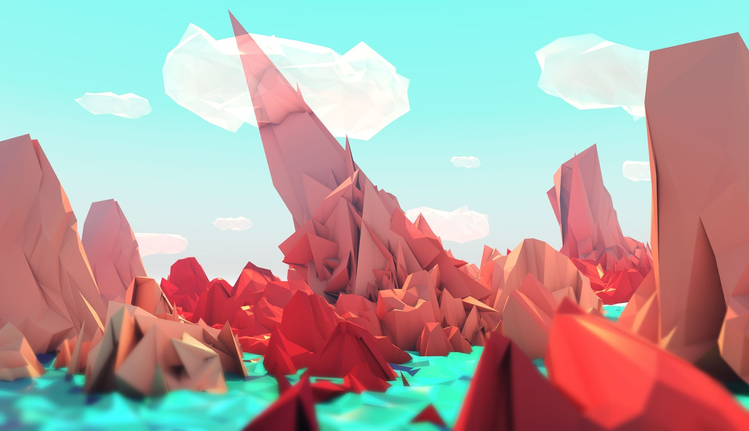 Res: 2560x1472, Low poly style wallpaper