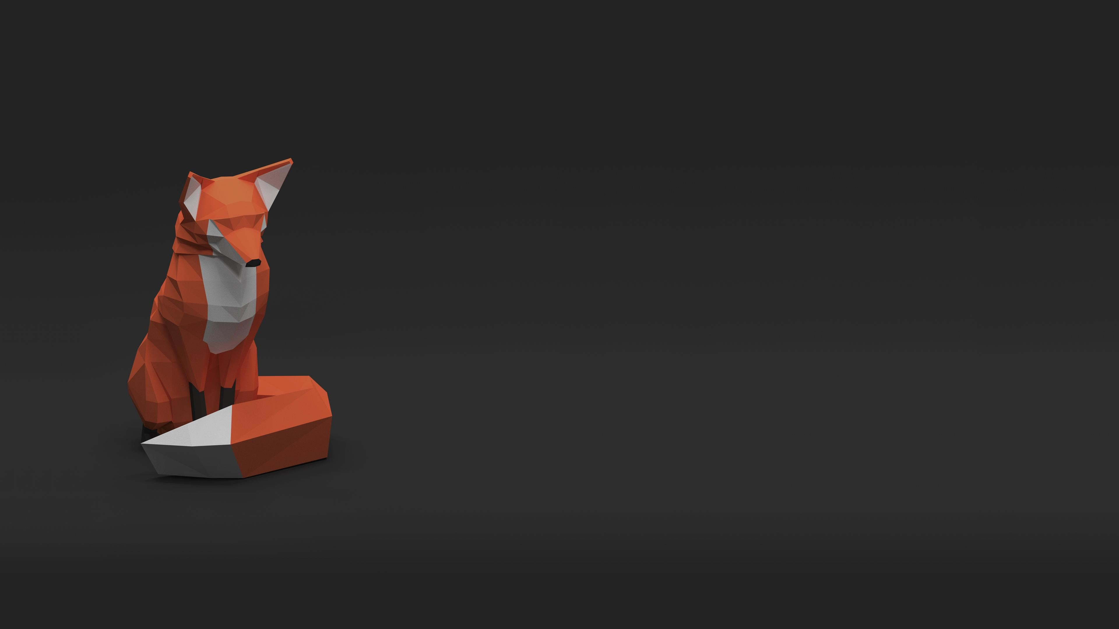 Res: 3840x2160, Low Poly Fox