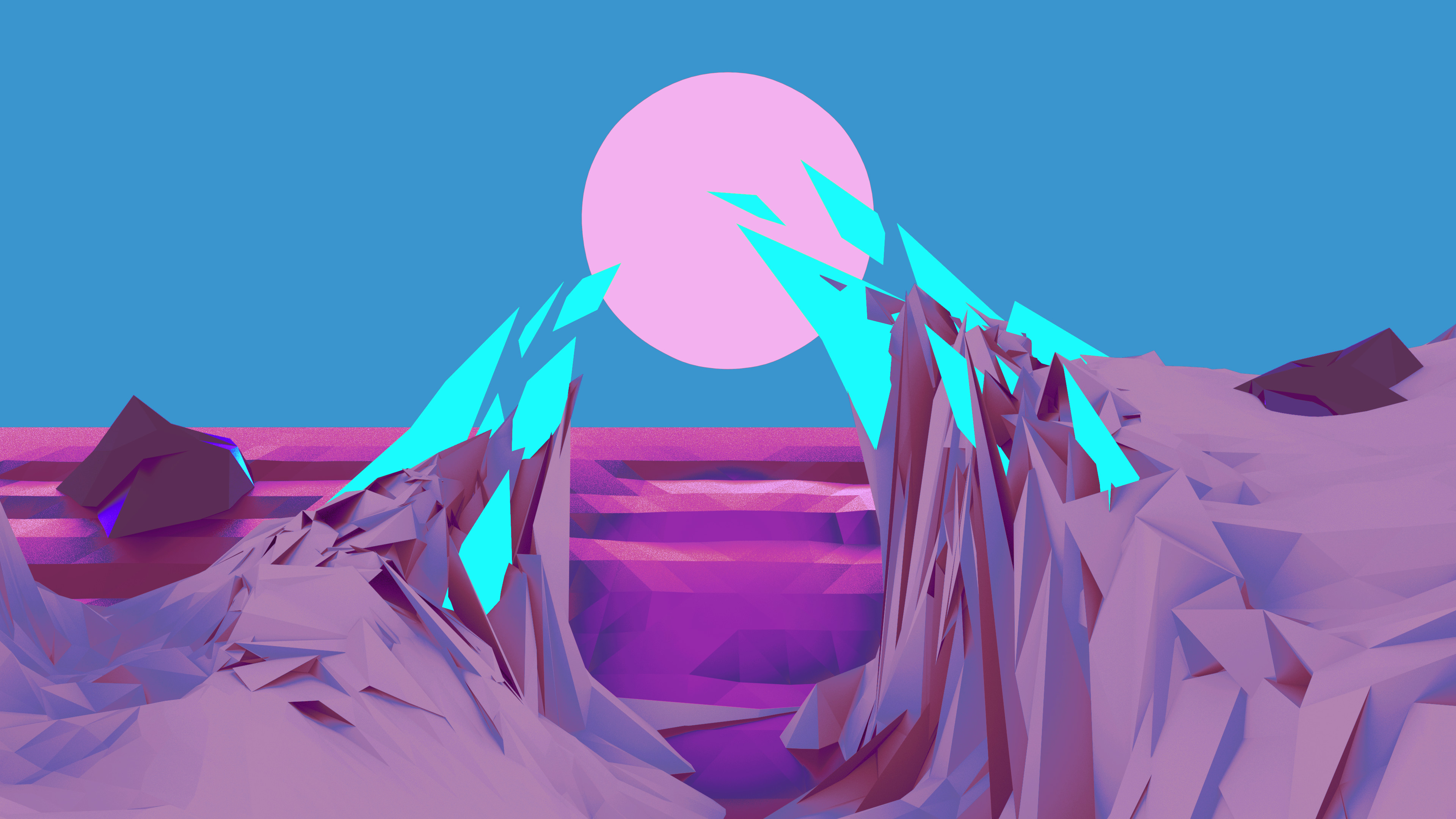 Res: 3840x2160, ... Low Poly Wallpaper (Purple/Blue) by Bluhurr