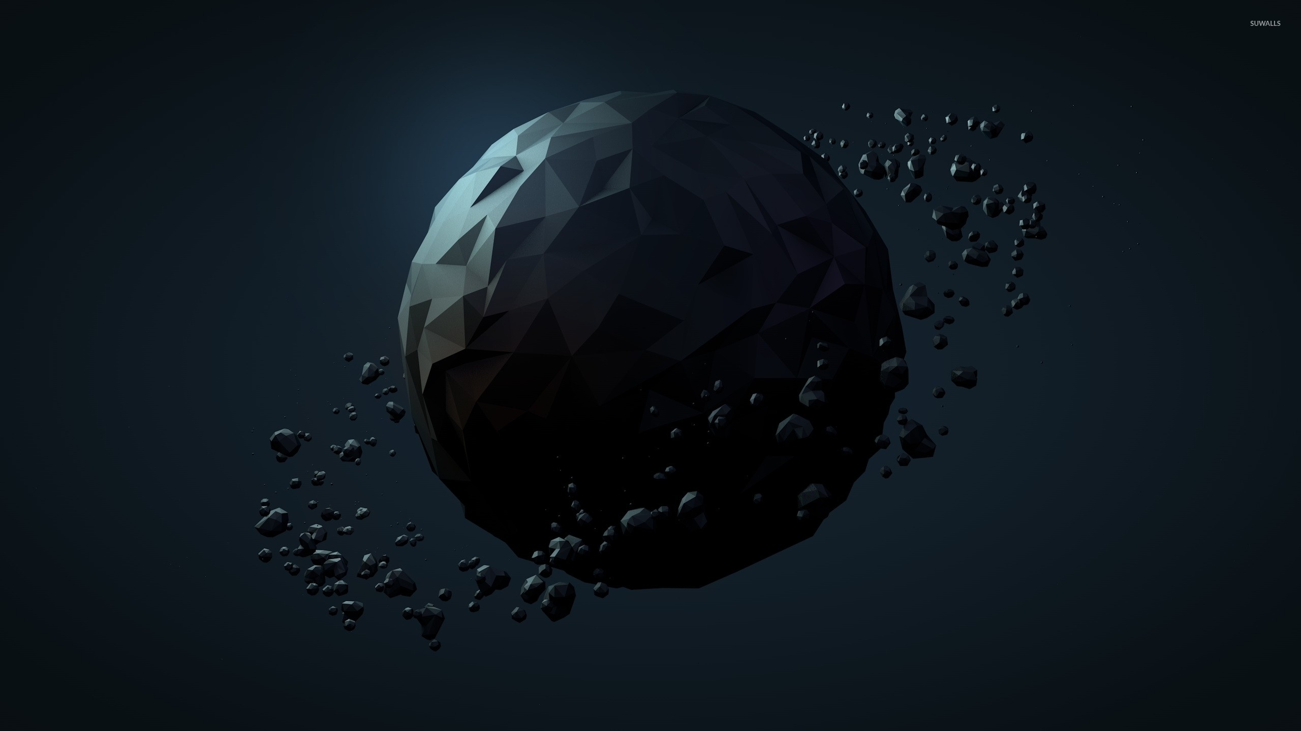 Res: 2560x1440, Low poly planet wallpaper