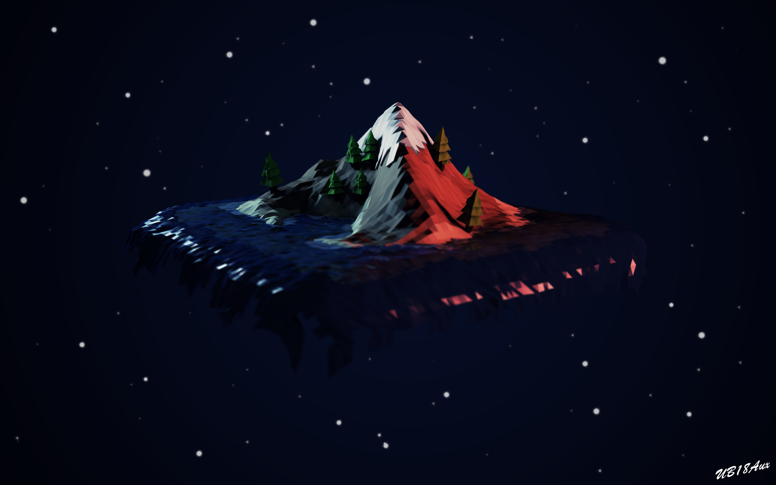 Res: 2560x1600, ... Low-Poly (Poly Art) Floating Island @ Dawn by UB18Aux