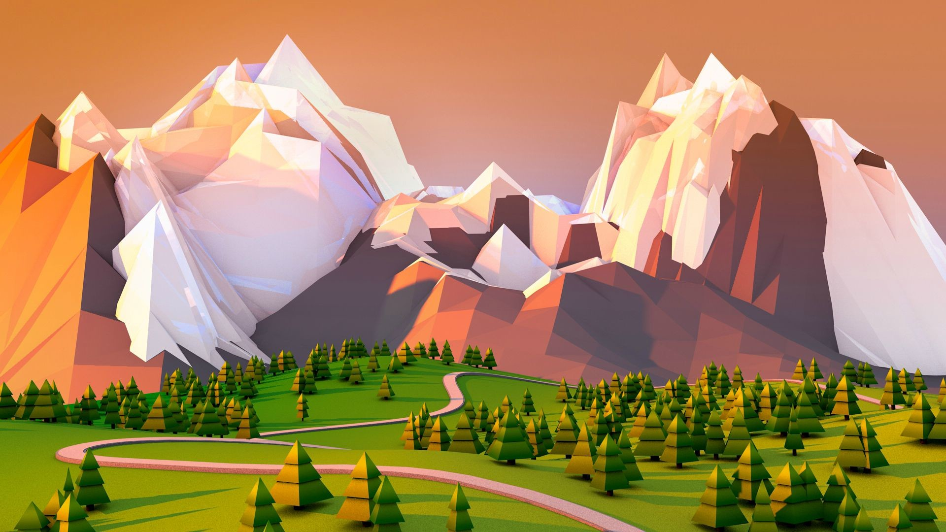 Res: 1920x1080, Polygons In Nature Wallpaper