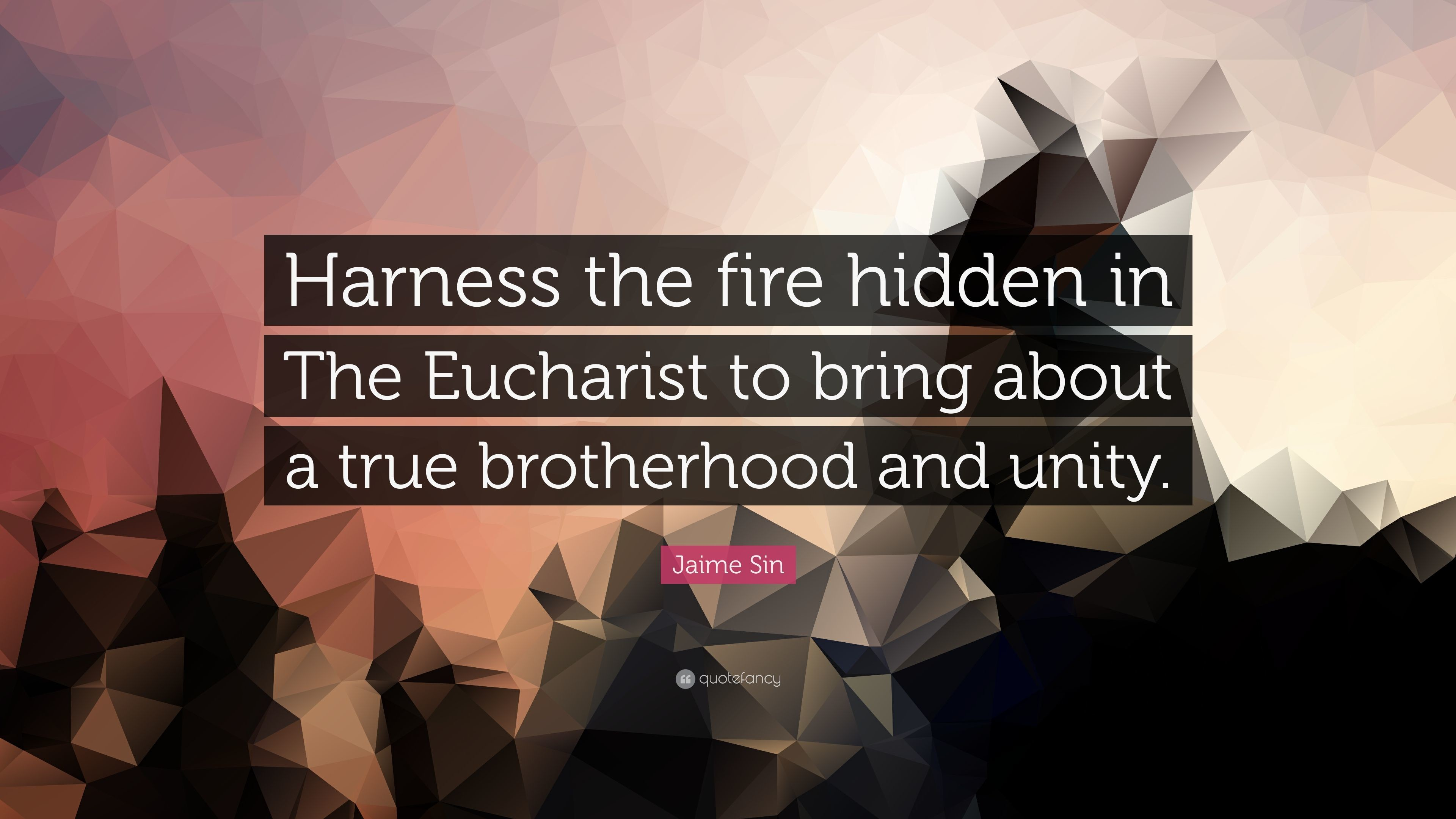 """Res: 3840x2160, Jaime Sin Quote: """"Harness the fire hidden in The Eucharist to bring about a"""