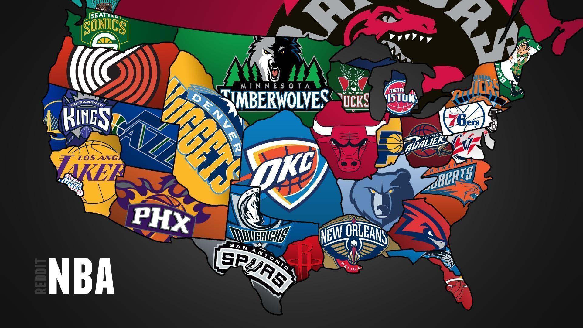 Res: 1920x1080, Cool map of NBA teams -  - Full HD 16/9 - Wallpaper #