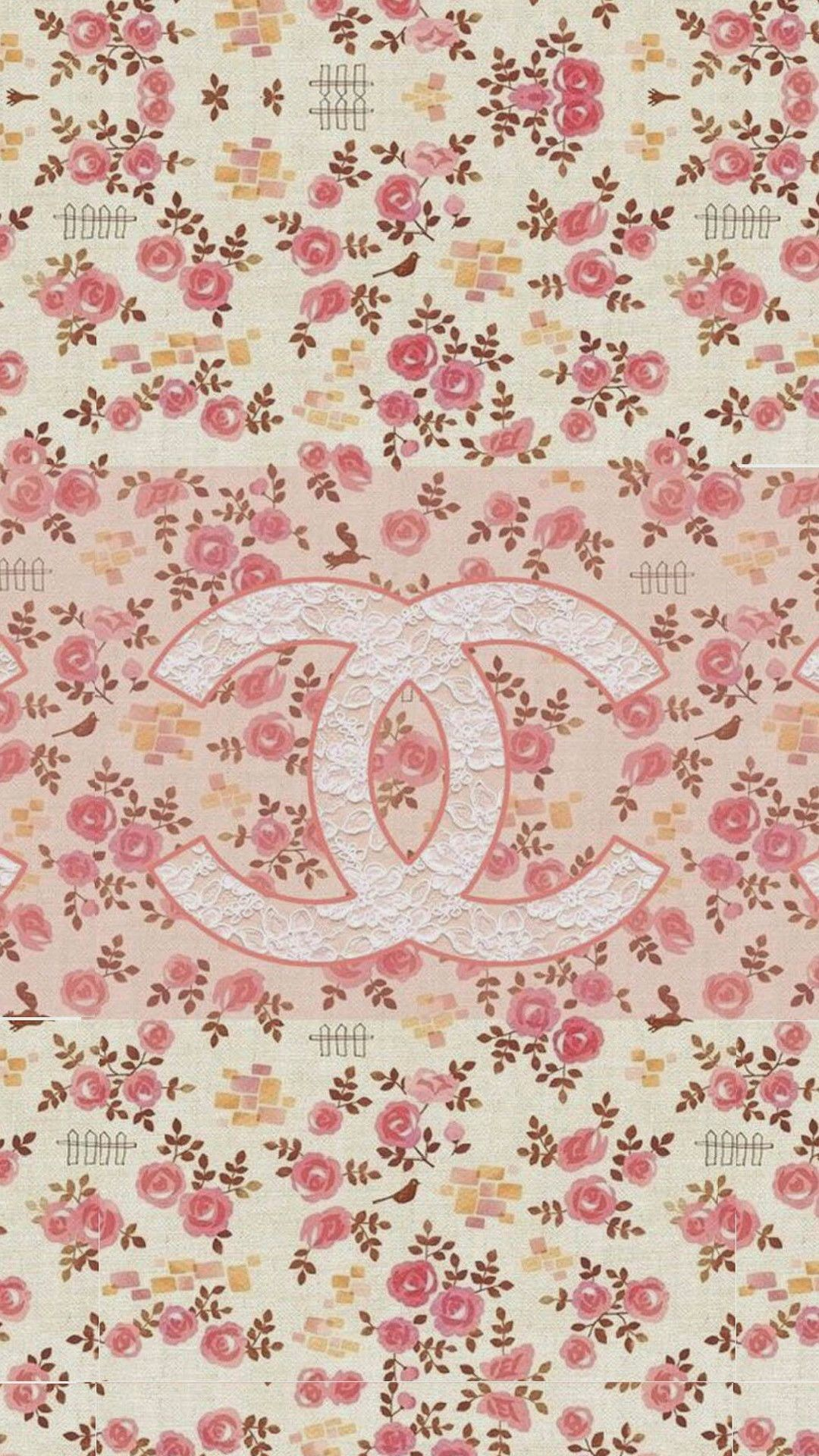 Res: 1080x1920,  Coco Chanel Flowers Pattern Logo #wallpaper