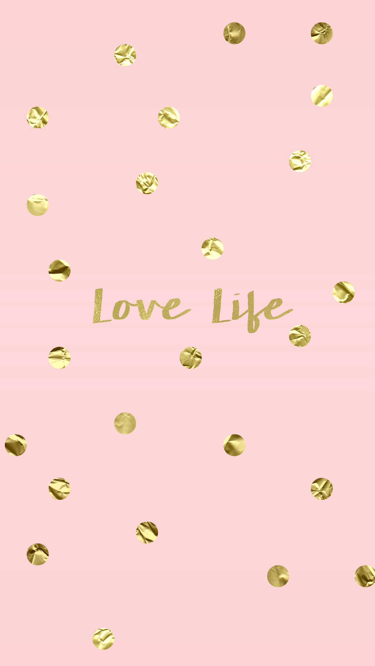 Res: 1242x2208,  Love Life Blush Pink Gold iPhone Wallpaper Background