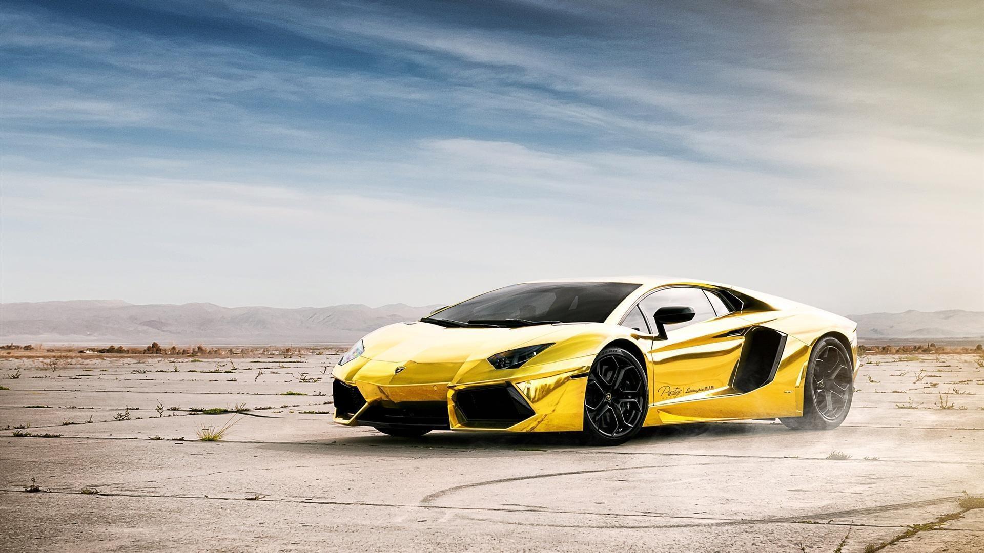 Res: 1920x1080, Gold Lamborghini Aventador Lp700