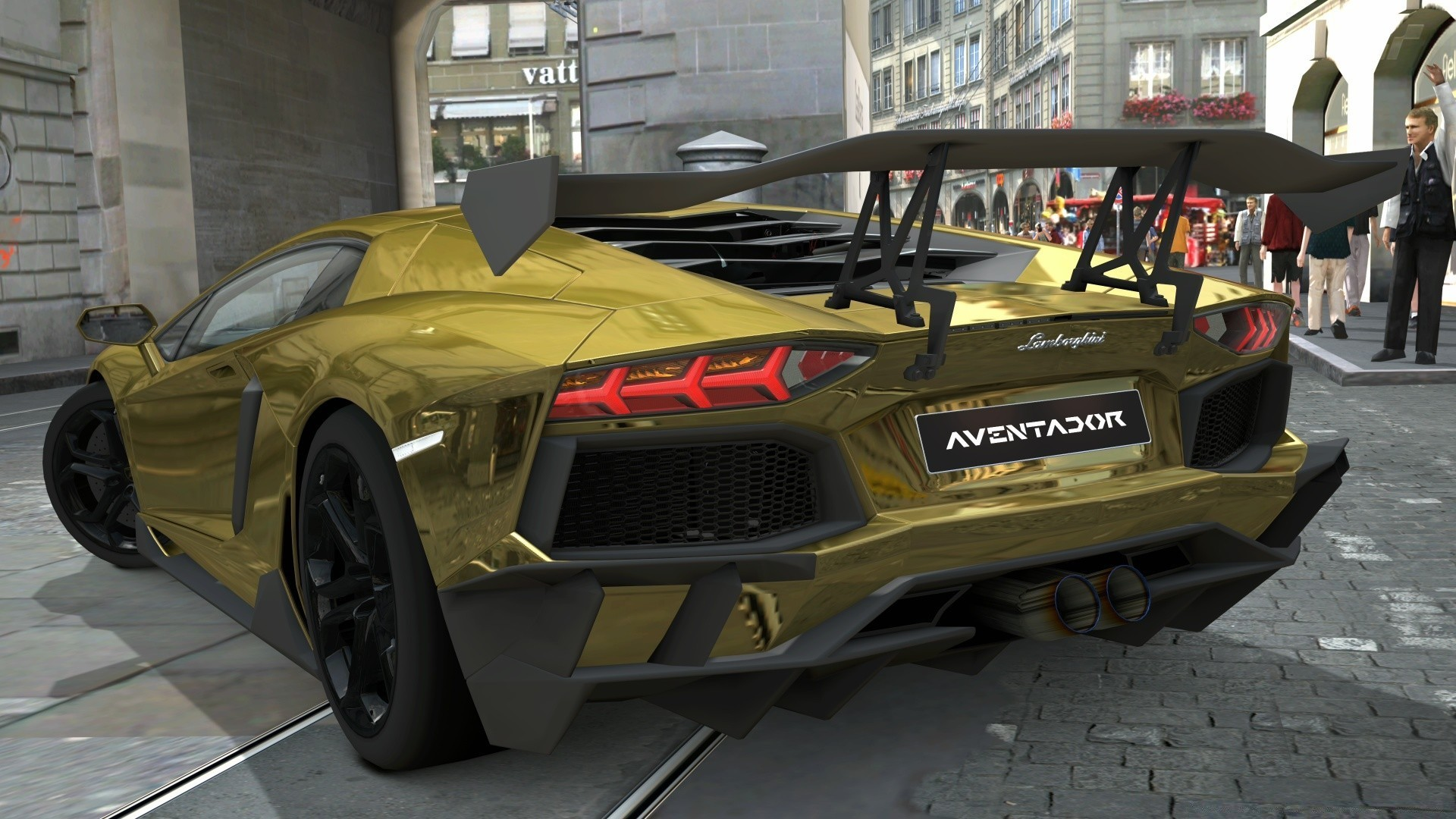 Res: 1920x1080, Lamborghini Aventador LP700-4 Gold Chrome, Gran Turismo 5. Android  wallpapers for free.