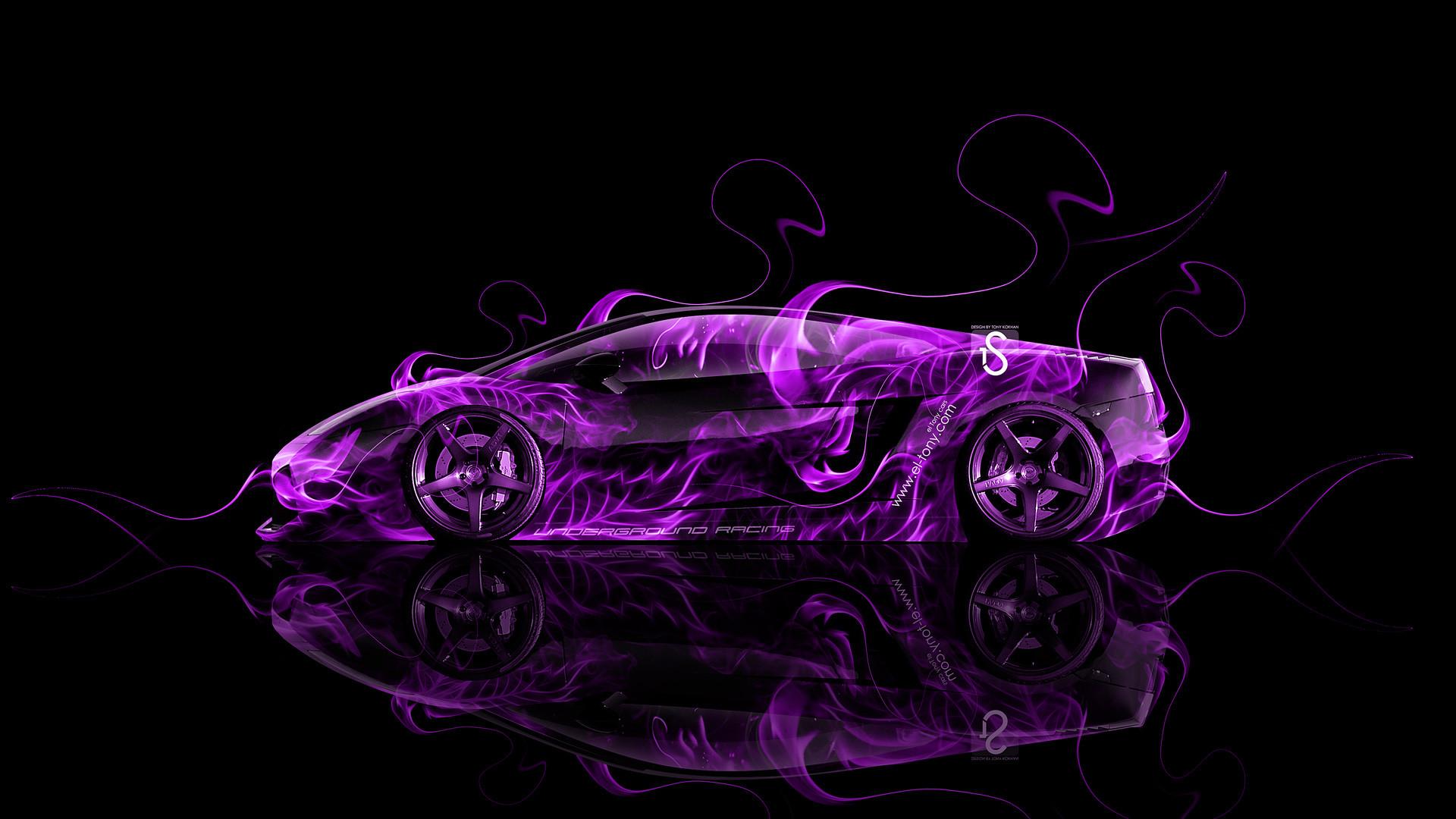 Res: 1920x1080, ... Lamborghini-Gallardo-Side-Violet-Fire-Abstract-Car-2014-