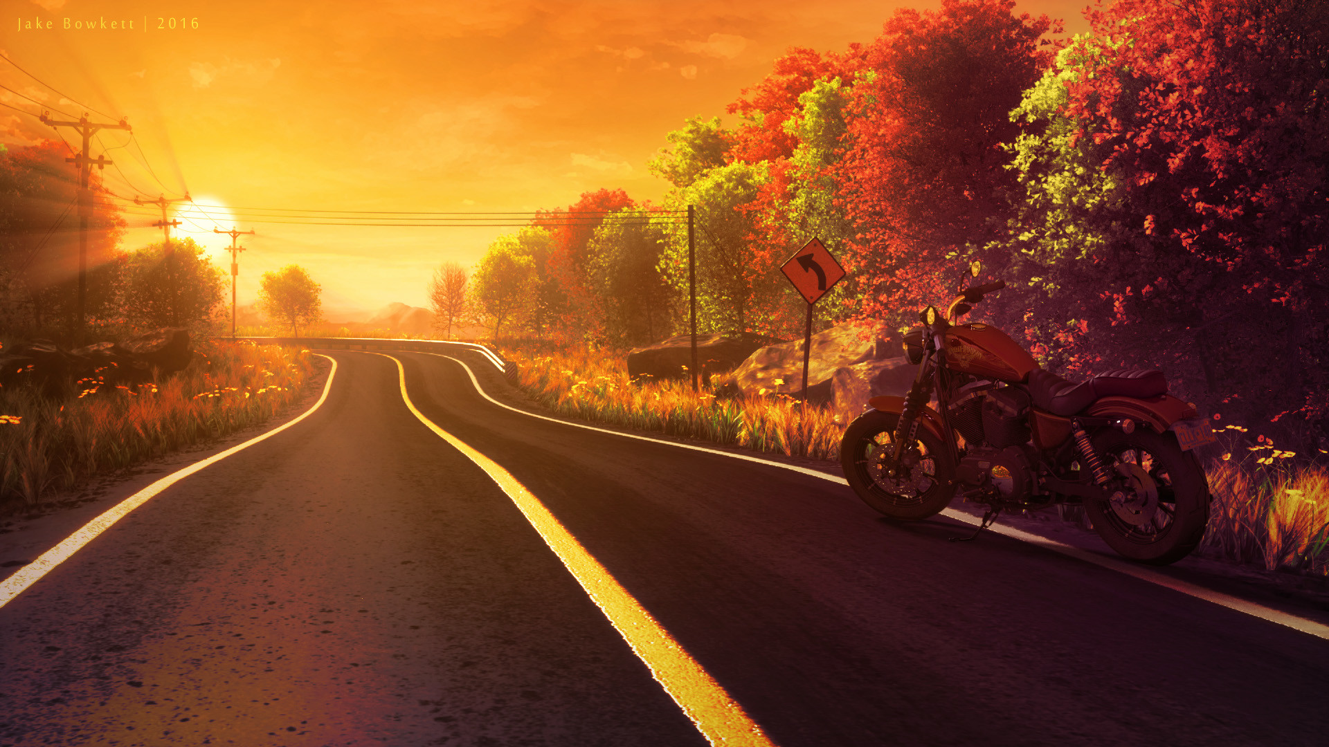 Res: 1920x1080, Country Road with Harley by JakeBowkett Country Road with Harley by  JakeBowkett