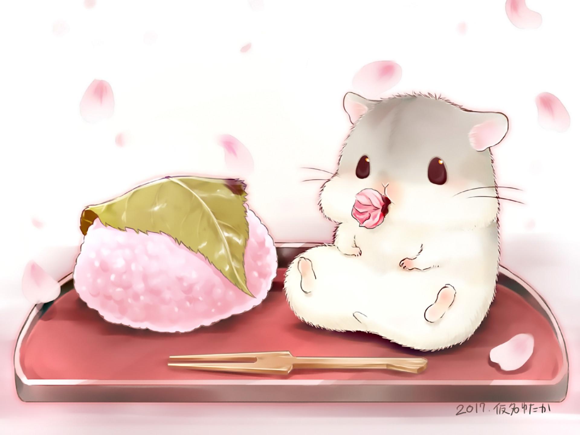Res: 1920x1440, Anime - Original Hamster Cute Food Wallpaper