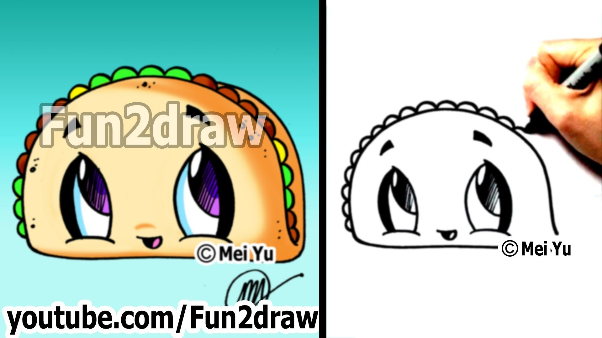 Res: 1920x1080, Cute Easy Drawings - How to Draw Cartoon Food - Taco - dibujos