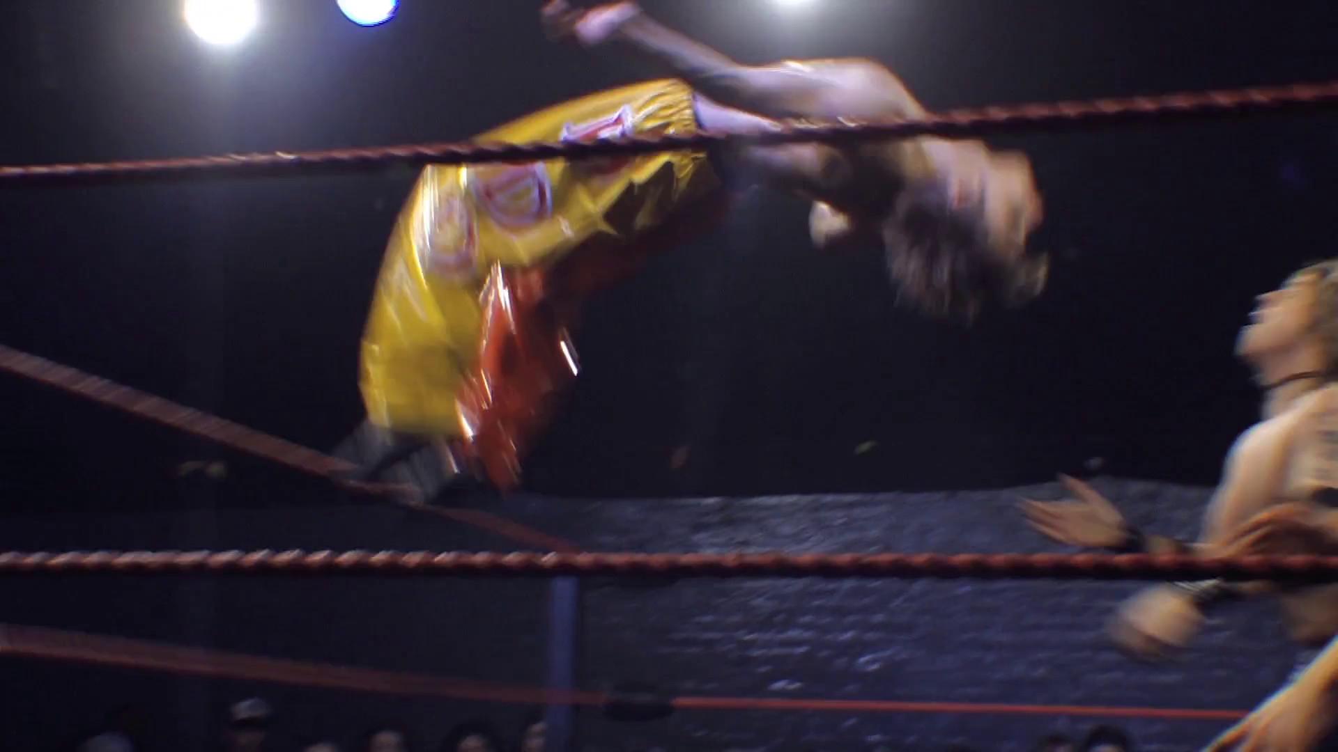 Res: 1920x1080, Pro Wrestling Match Sequence: Springboard Moonsault Backflip Stock Video  Footage - Videoblocks