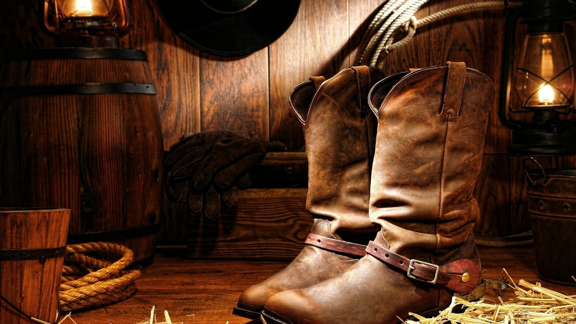 Res: 1920x1080, cowboy boots wood cord lamp gloves hat
