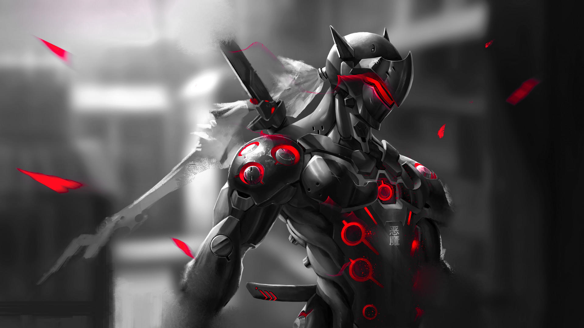 Res: 1920x1080, Red Genji Wallpaper 1080p