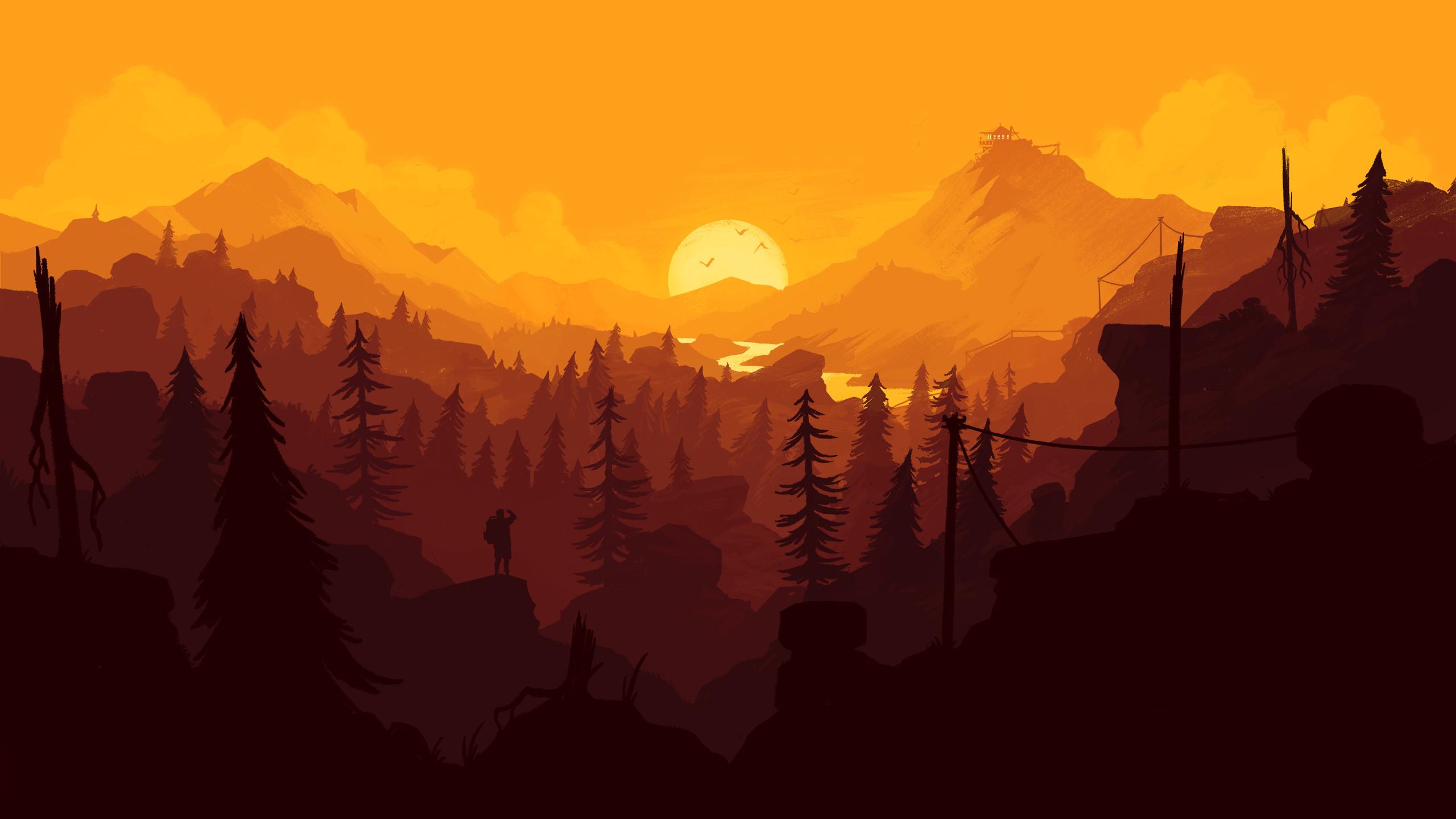 Res: 2560x1440, Firewatch Wallpaper desktop  orange