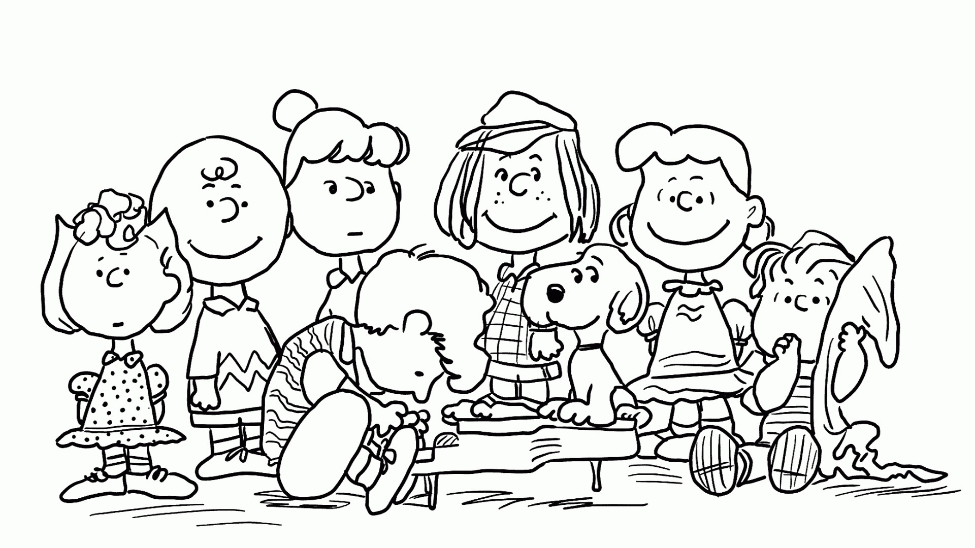 Res: 1920x1080, Snoopy And Charlie Brown Christmas Characters Coloring Pages Free Charlie  Brown And Snoopy Games Free Kids