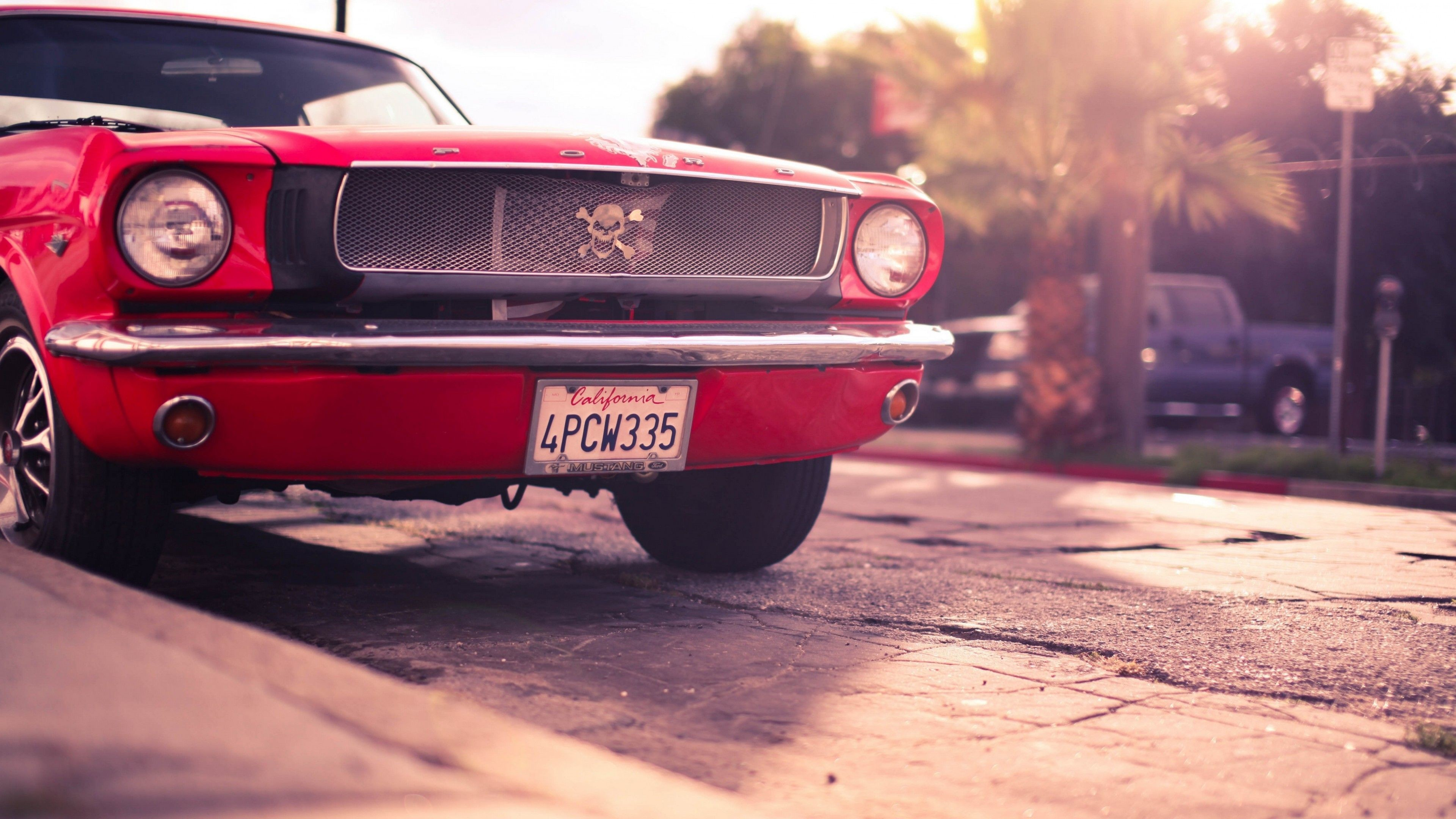 Res: 3840x2160, Ford Mustang Classic Red 4K Wallpaper #ford #mustang